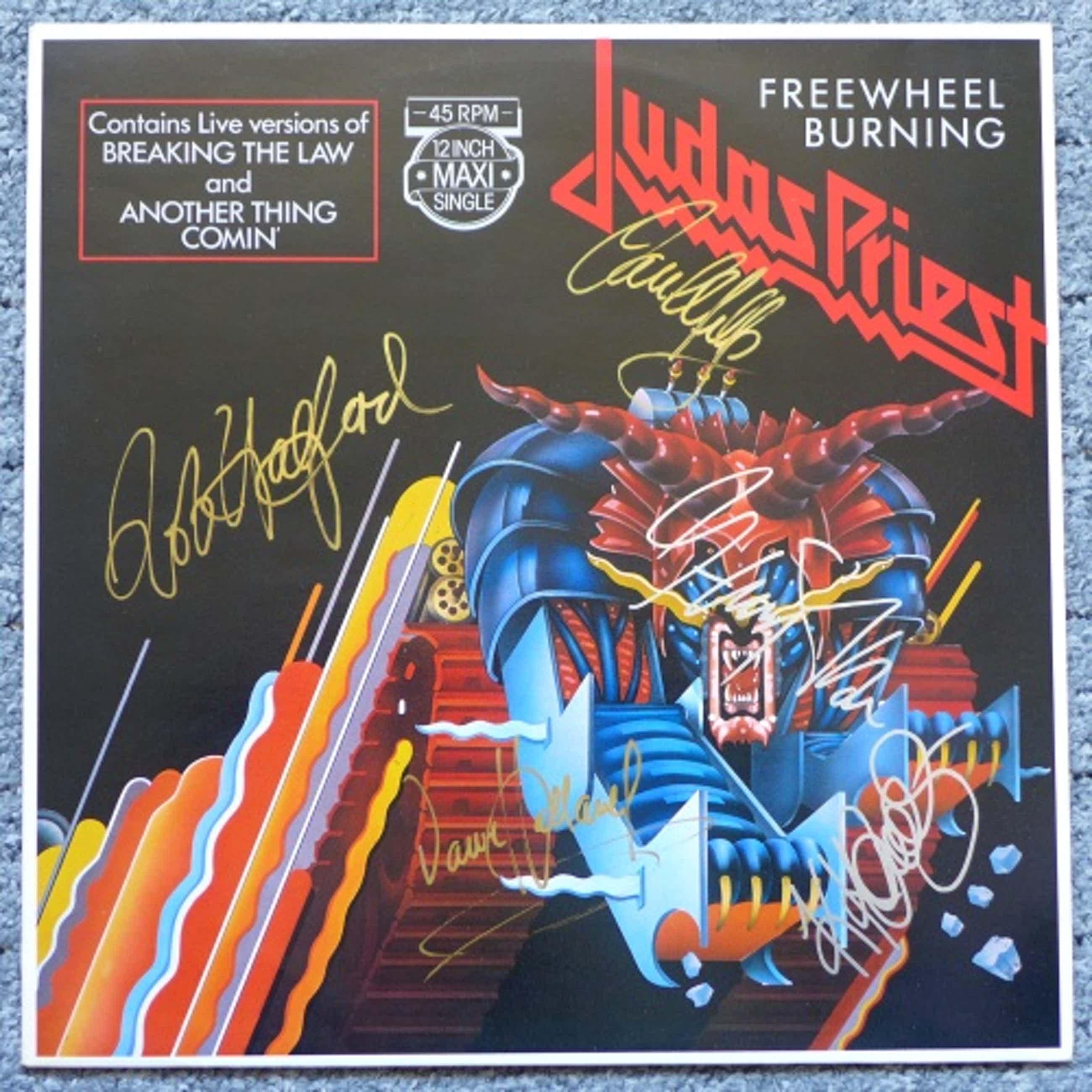 Judas Priest - Freewheel Burning, Maxi Single signiert: Halford, Tipton, Downing, Hill, Holland kopen? Bied vanaf 49!