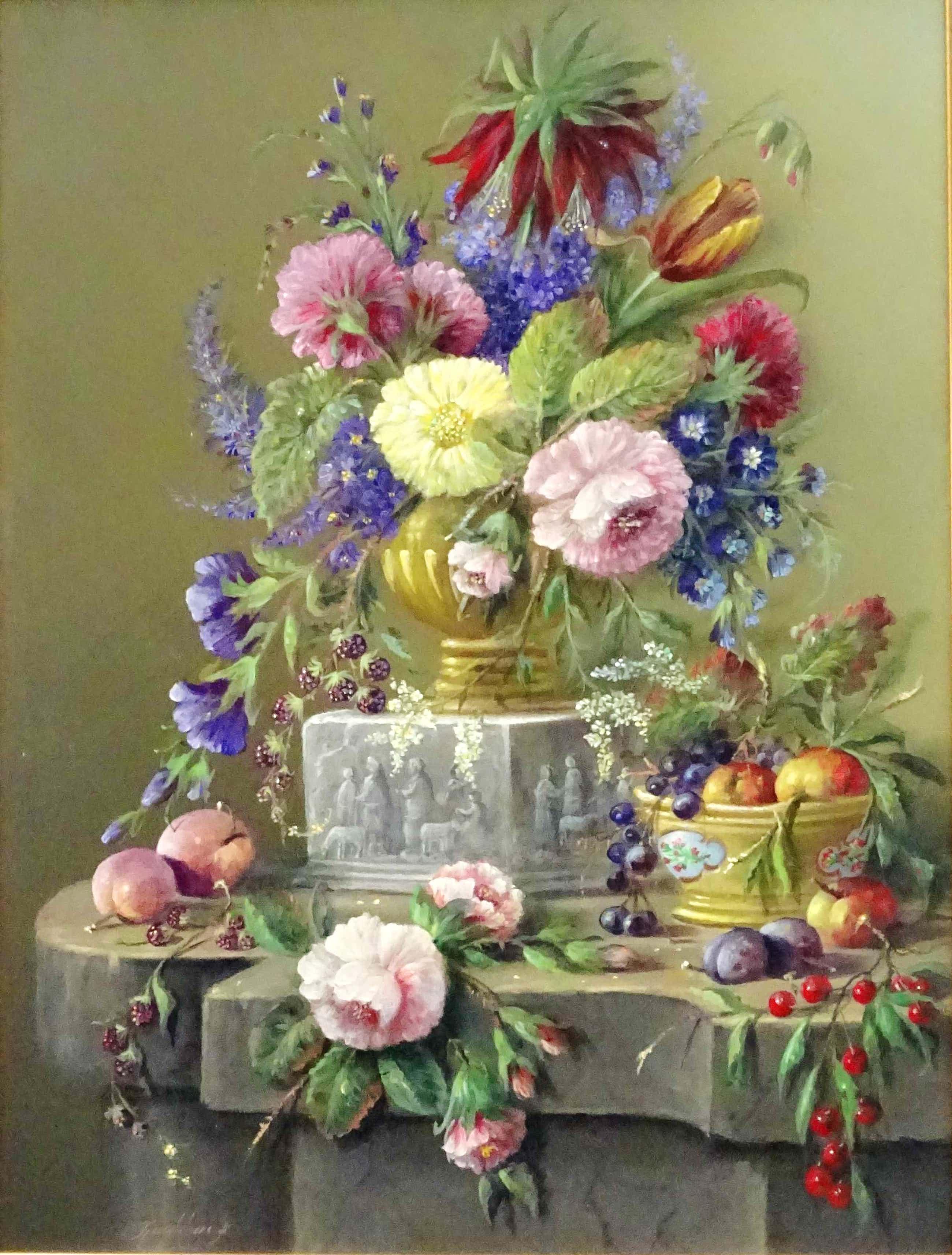 Thomas Heesakkers - Mooi groot pronkstilleven van bloemen en fruit op paneel. kopen? Bied vanaf 595!