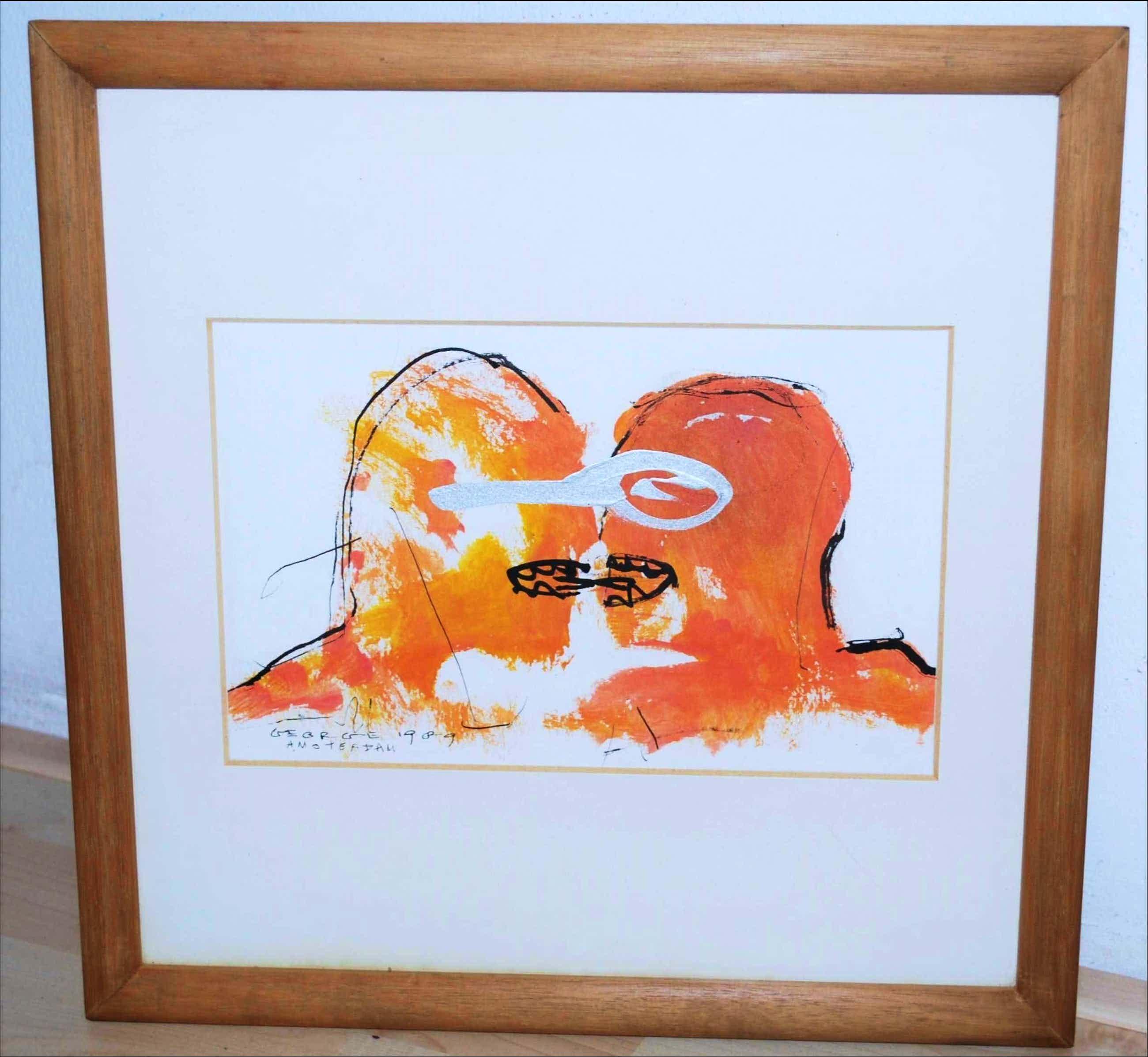 George Heidweiller - kussende figuren, Amsterdam 1989 - met opdracht kopen? Bied vanaf 65!