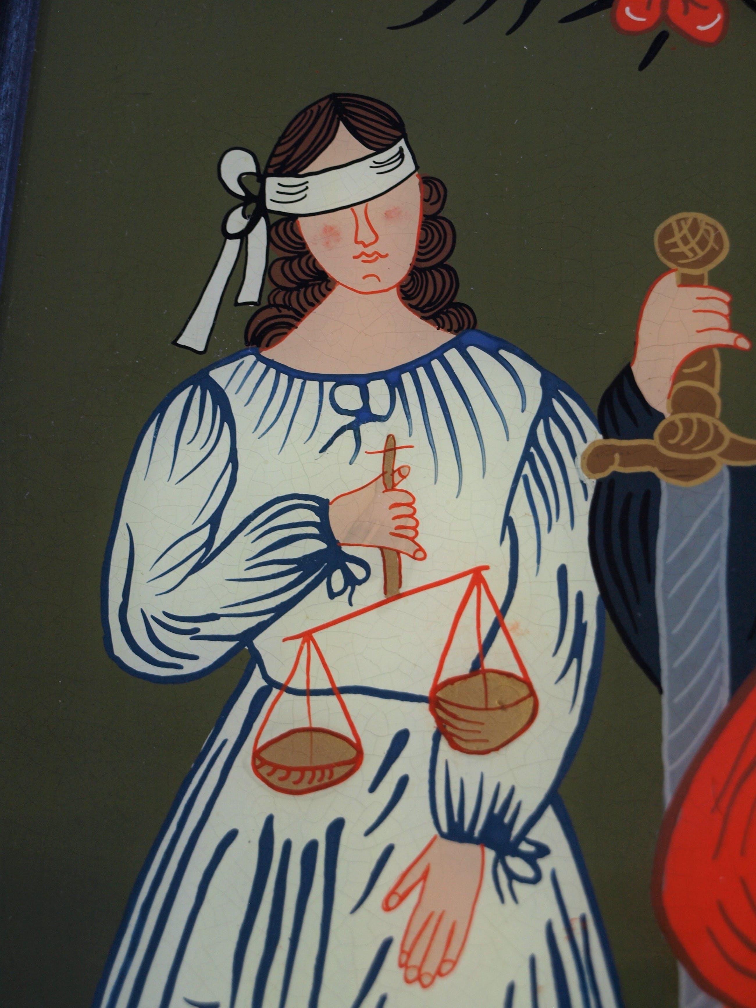 Niet of onleesbaar gesigneerd - Achterglasschildering / Hinterglasmalerei , Gerechtigheid – ingelijst kopen? Bied vanaf 10!