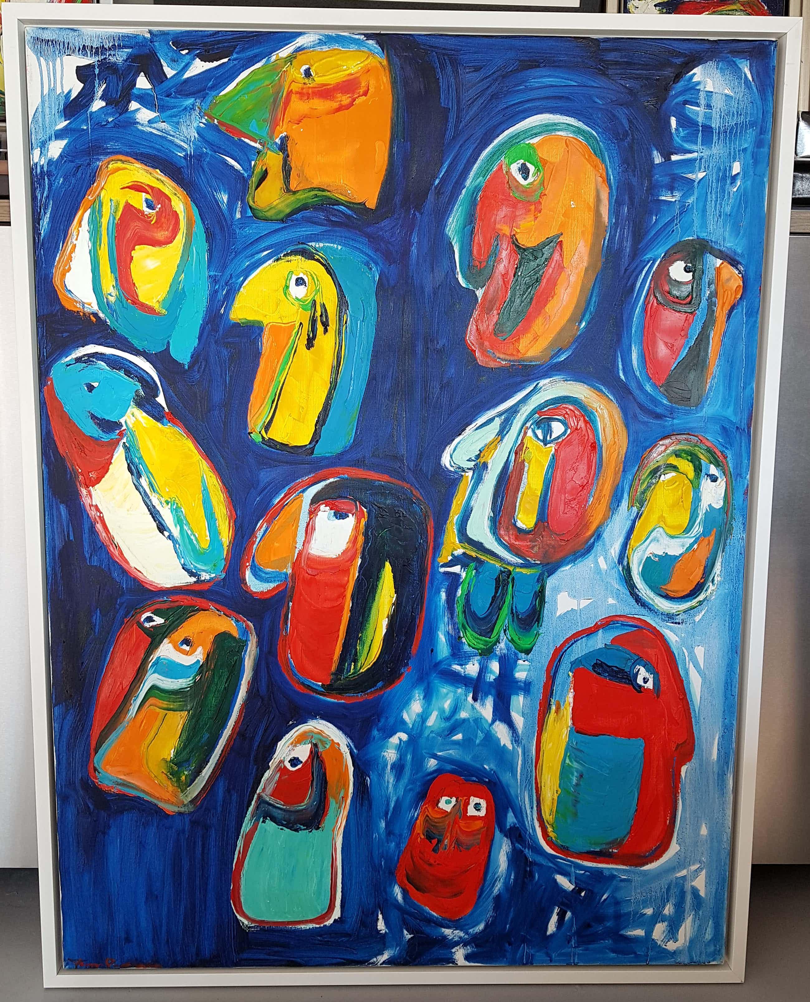 Finn Pedersen - titel 'FACE' schitterend GROOT mooi kleurrijk origineel werk. Lage startprijs kopen? Bied vanaf 920!