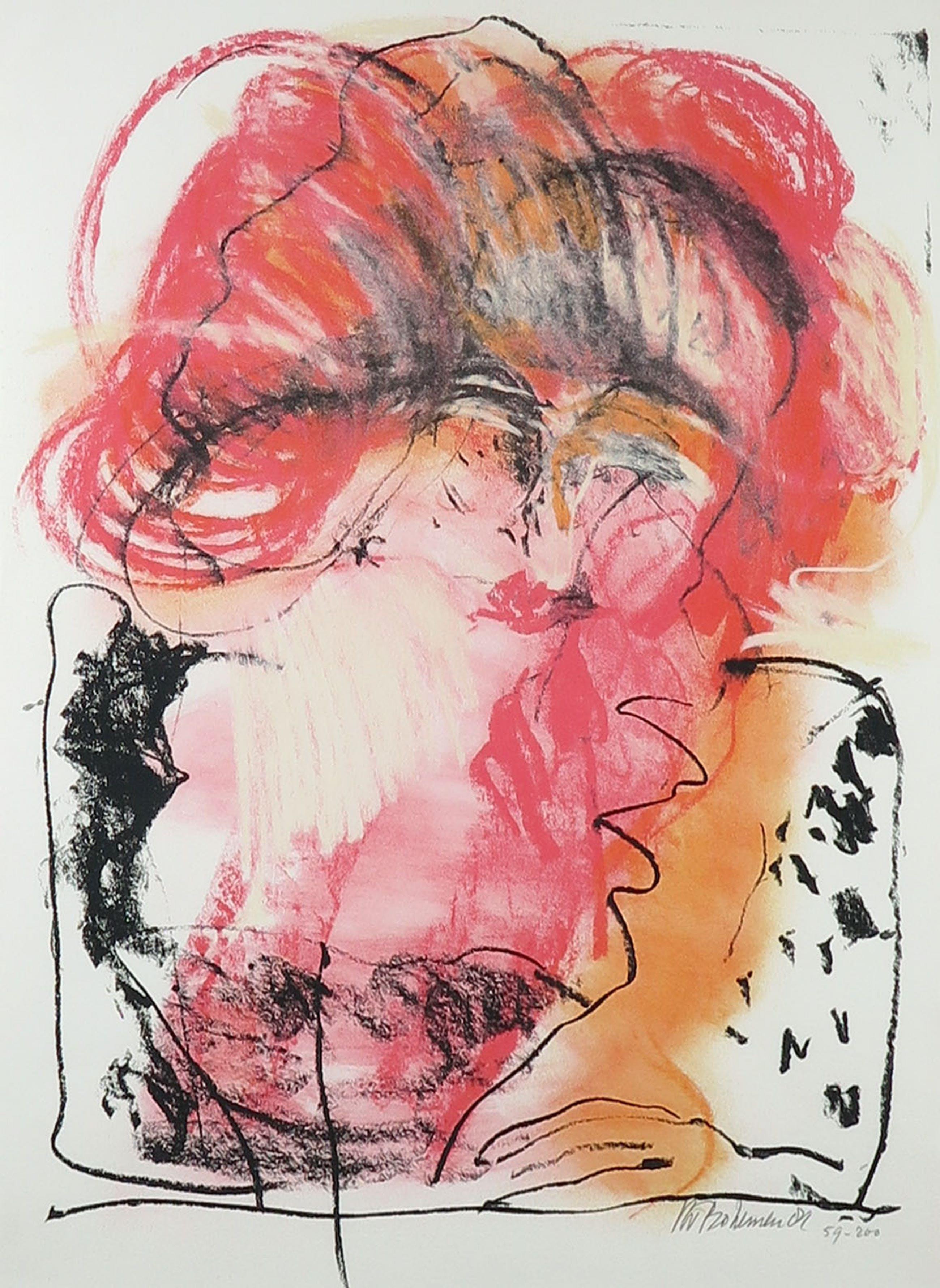 Kees van Bohemen - Litho, Vrouw met rood haar - Ingelijst (Groot) kopen? Bied vanaf 100!
