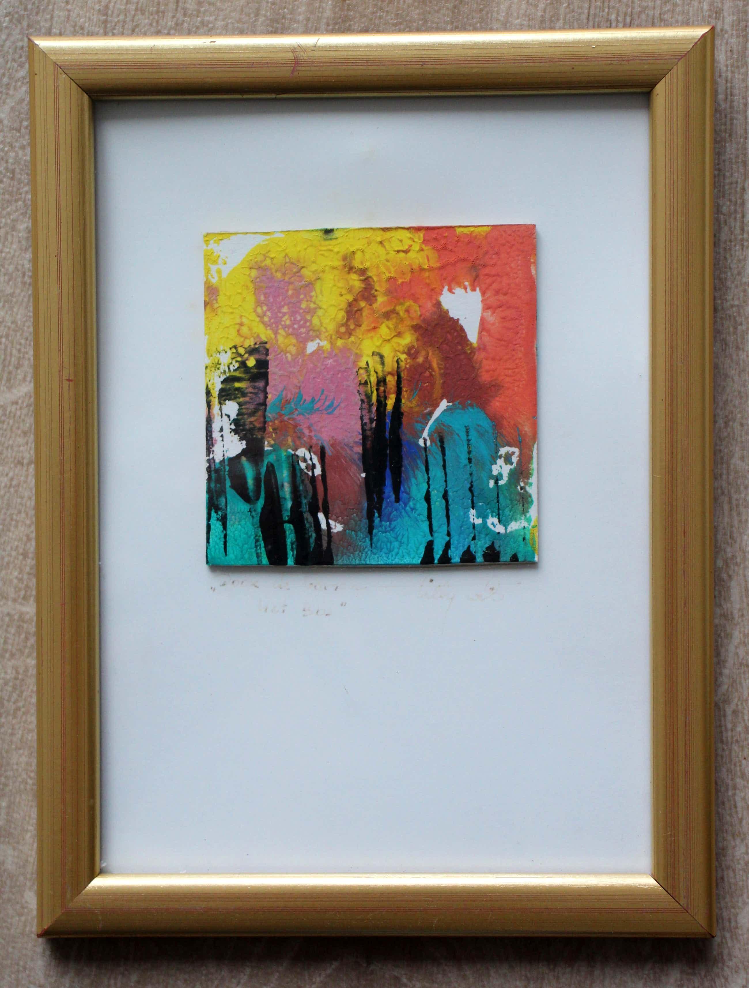 Tilly Wils - ingelijst acryl op karton: door de bomen het bos kopen? Bied vanaf 35!