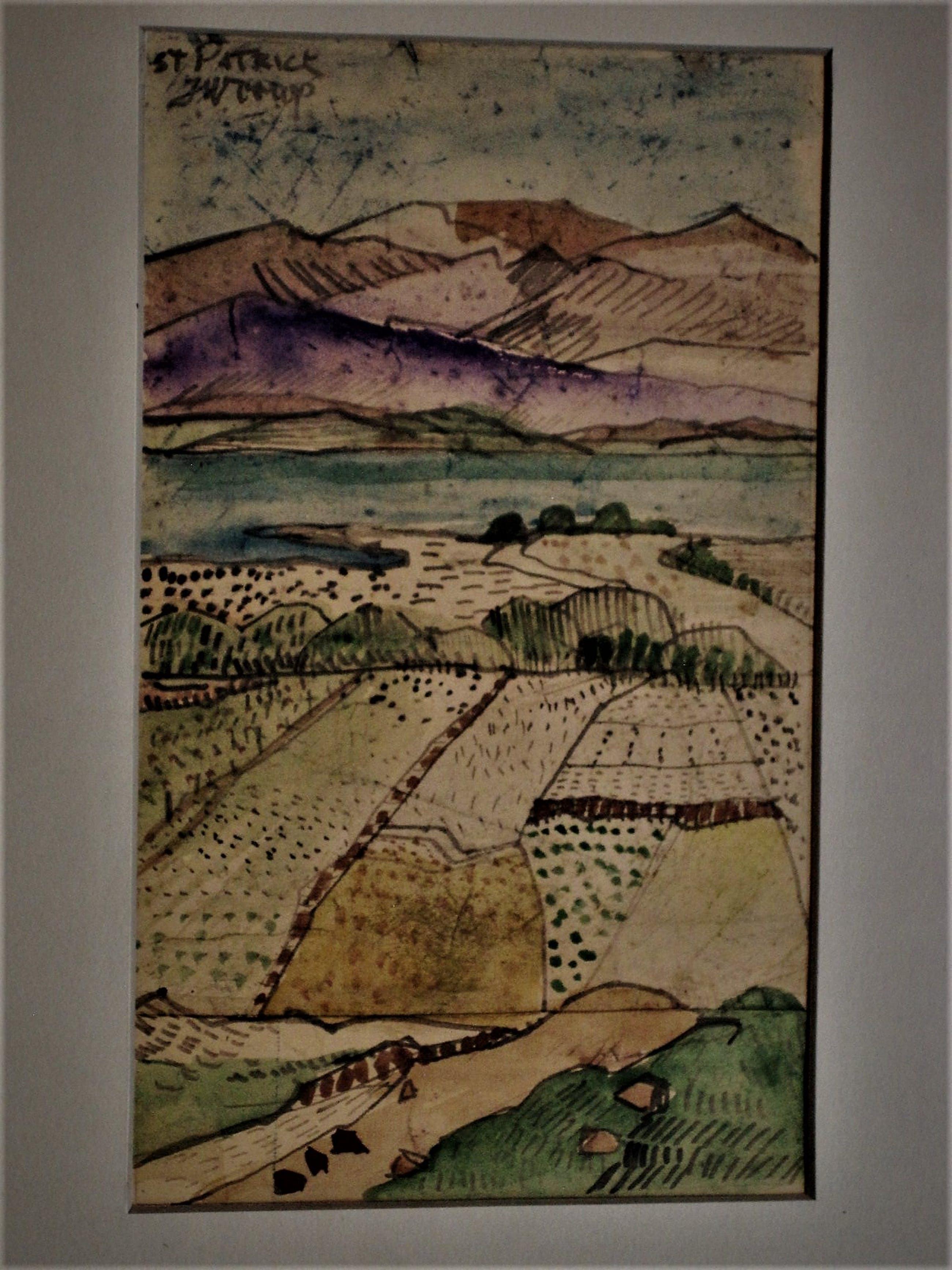 """Niet of onleesbaar gesigneerd - Intrigerend impressionistisch geschilderde Gouache """"Berglandschap"""" gesigneerd kopen? Bied vanaf 10!"""