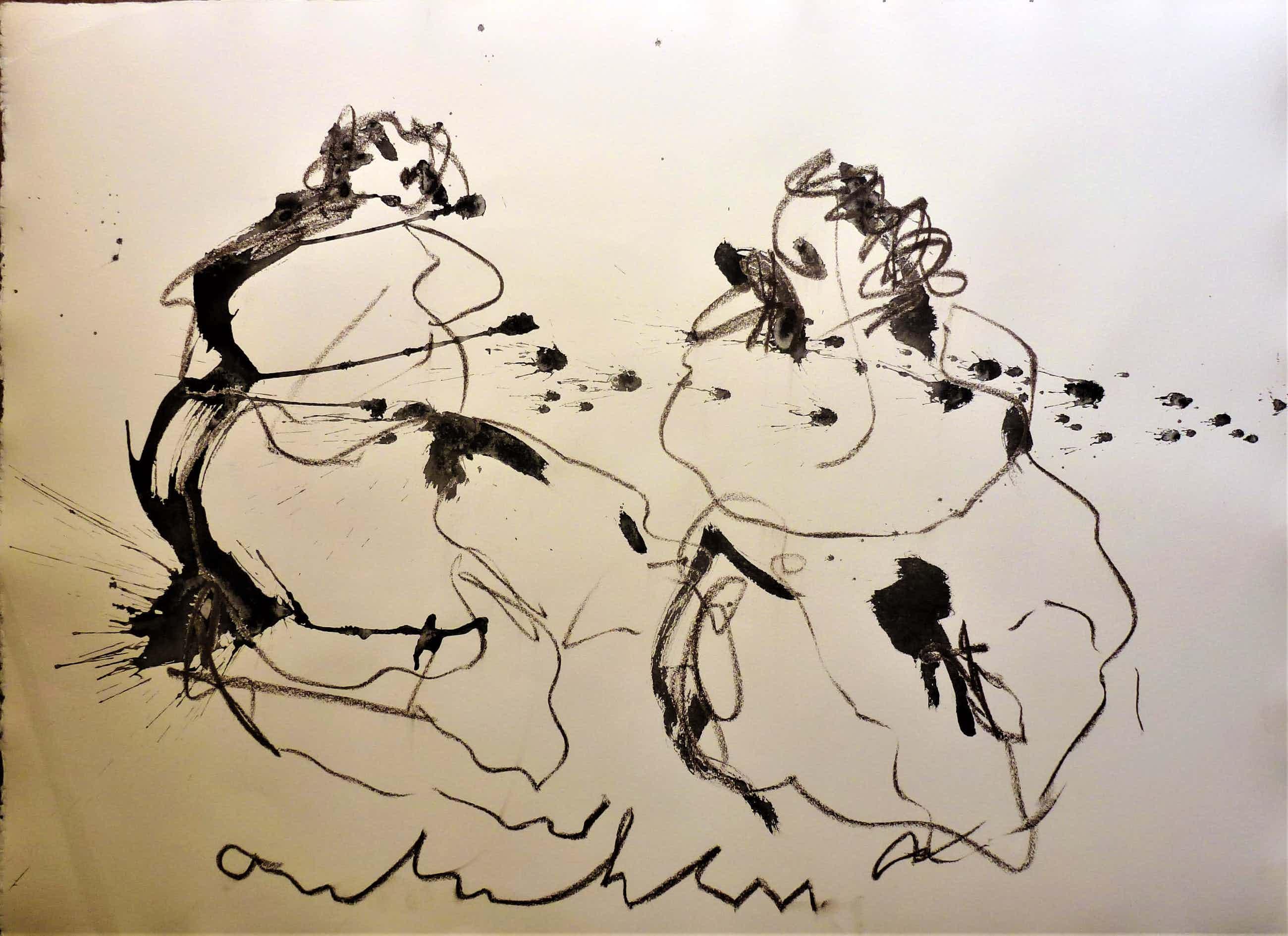 Anton Heyboer - 2 Vrouwen .Mooie krachtige schildering en aparte voorstelling . kopen? Bied vanaf 250!