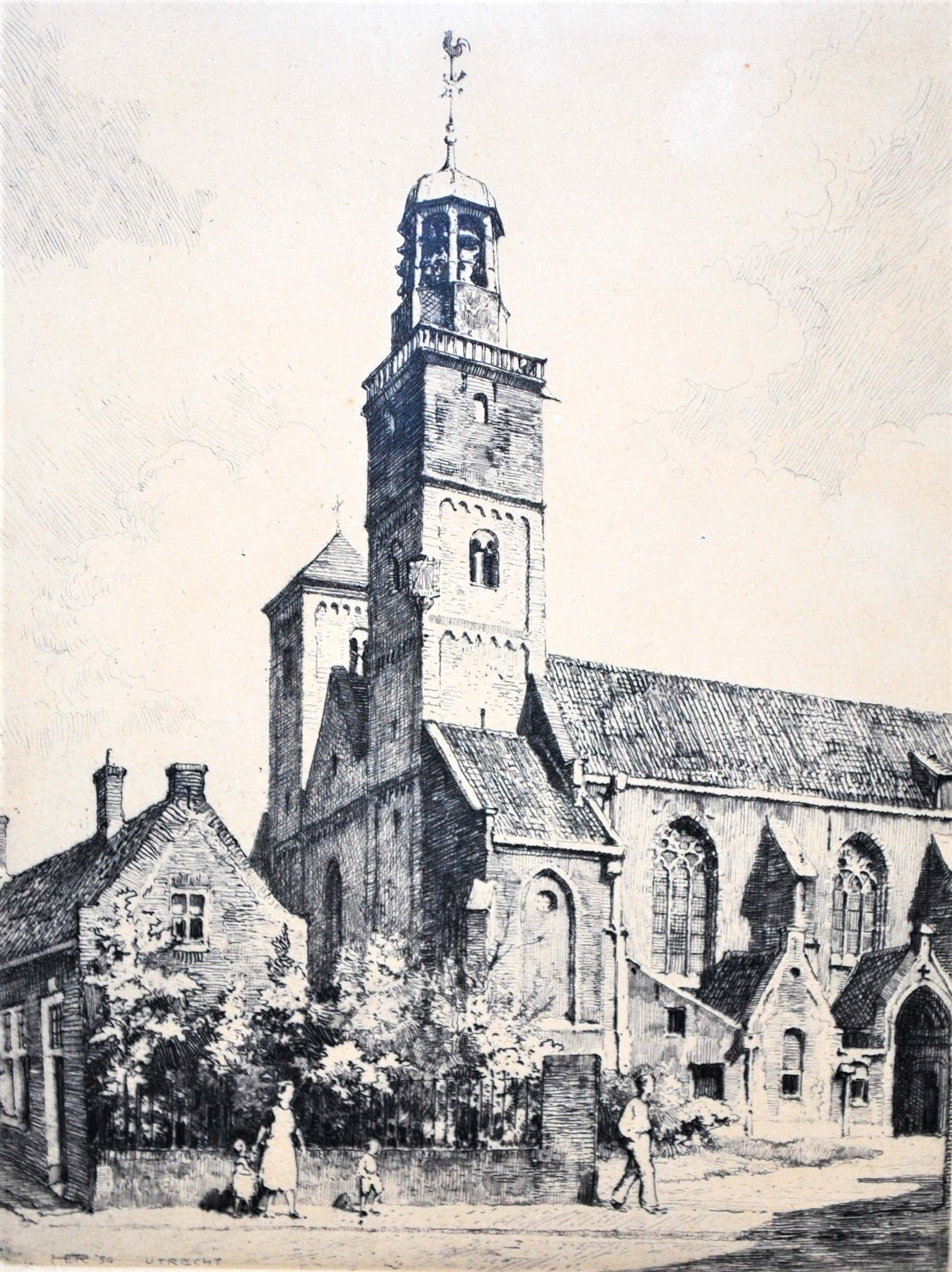 Hendrikus Roodenburg - Nicolaïkerk Utrecht - ets uit 1954 - genummerd 65 kopen? Bied vanaf 45!