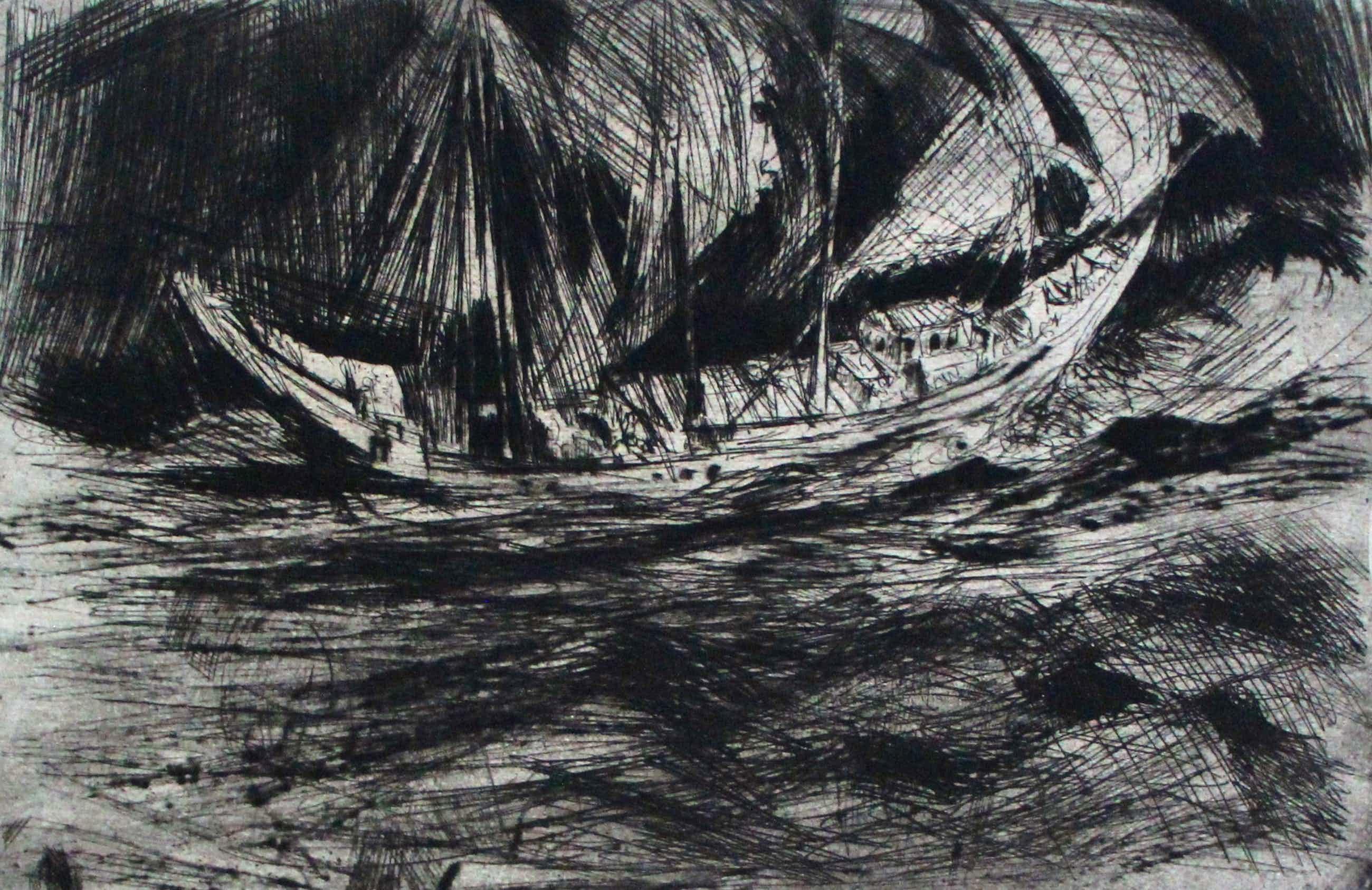 Jan Mensinga - Ets: Le beau navire- 1963 kopen? Bied vanaf 50!