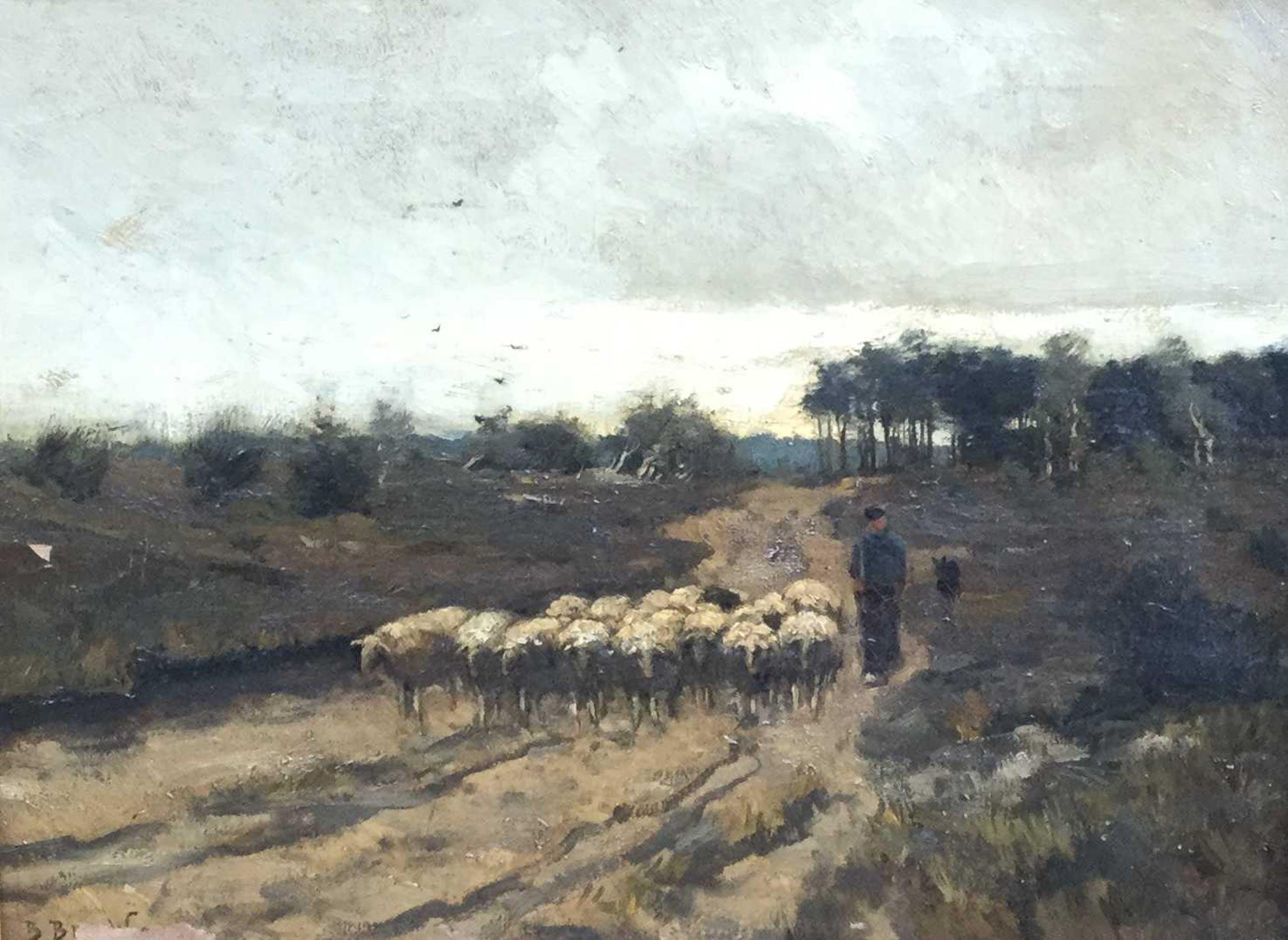 Berend Jan Brouwer - C4210 - Schaapsherder met kudde op de hei kopen? Bied vanaf 10!