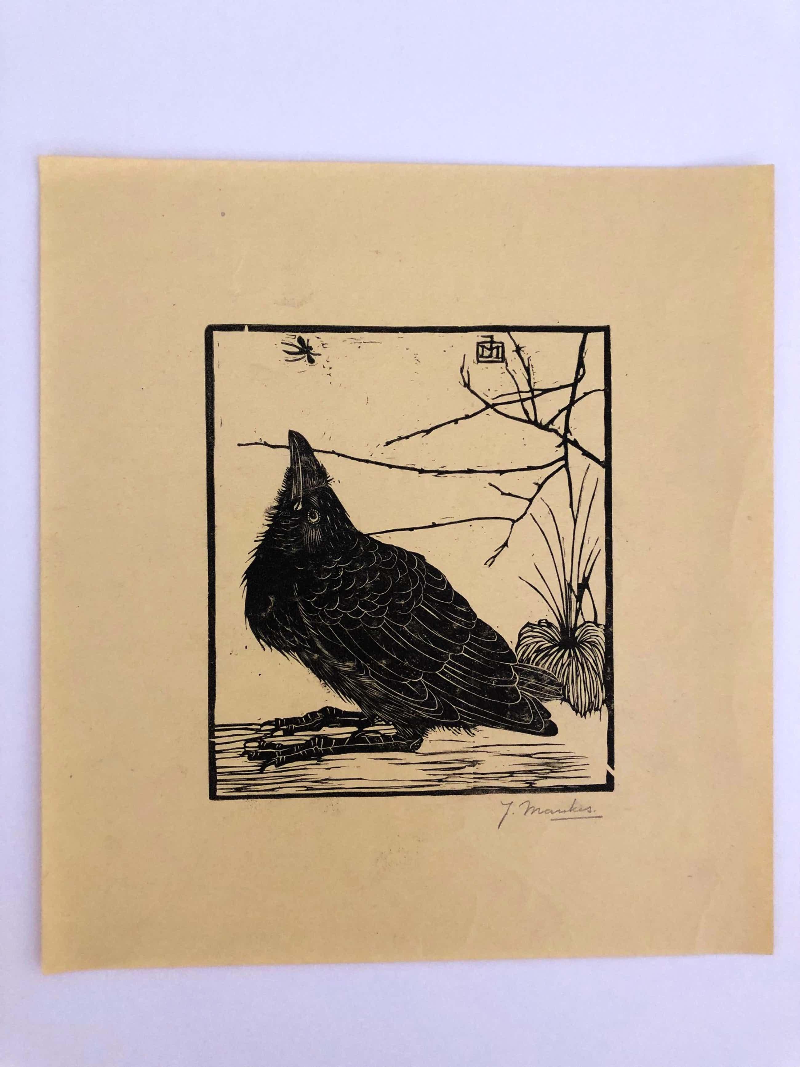 Jan Mankes - Houtsnede kleine kraai kijkend naar mugje - Gesigneerd - 1918 kopen? Bied vanaf 395!
