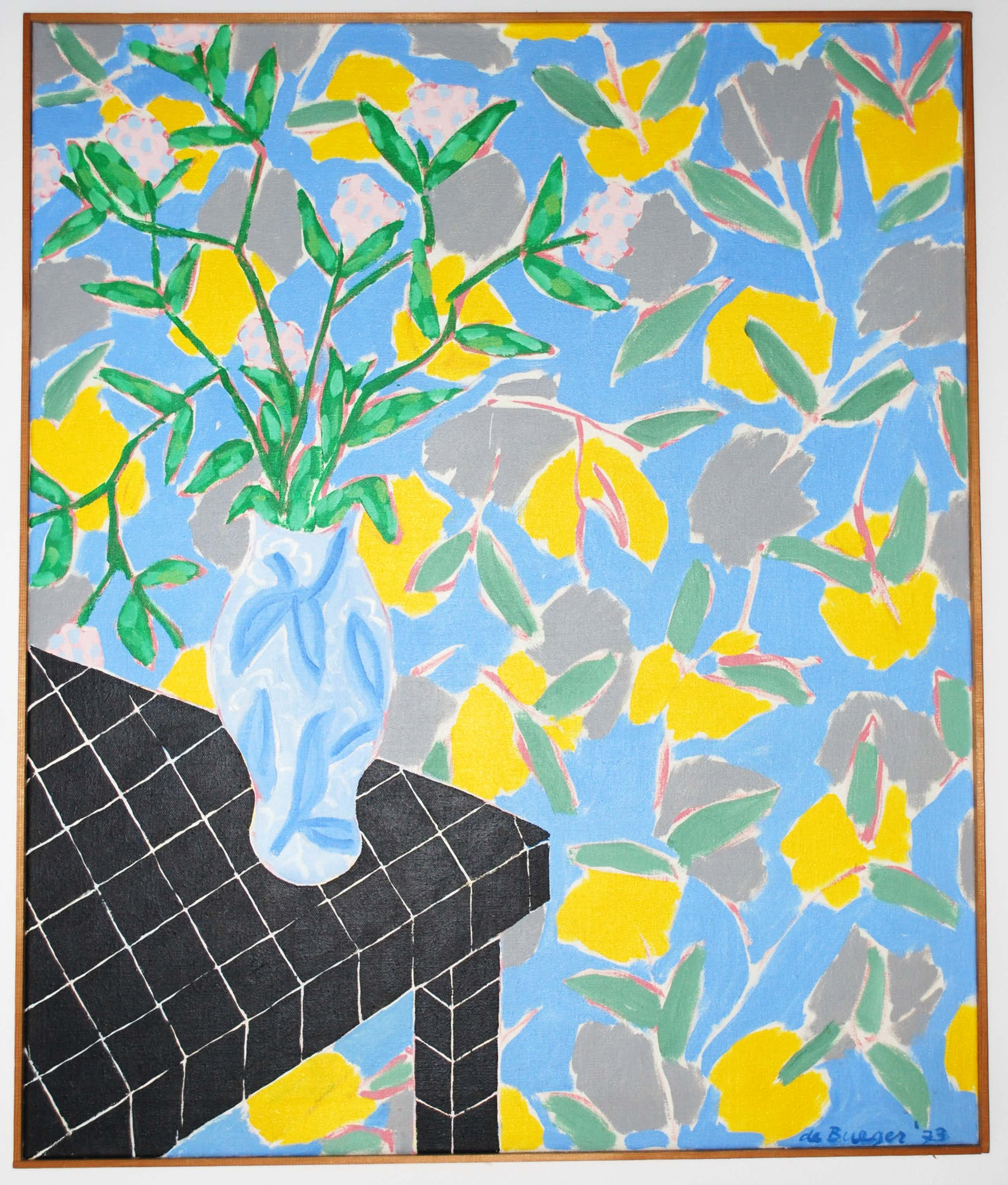 Chris de Bueger - Vaas bloemen op een zwarte tafel - schilderij uit 1973 - Groot: 120x100 cm - kopen? Bied vanaf 450!