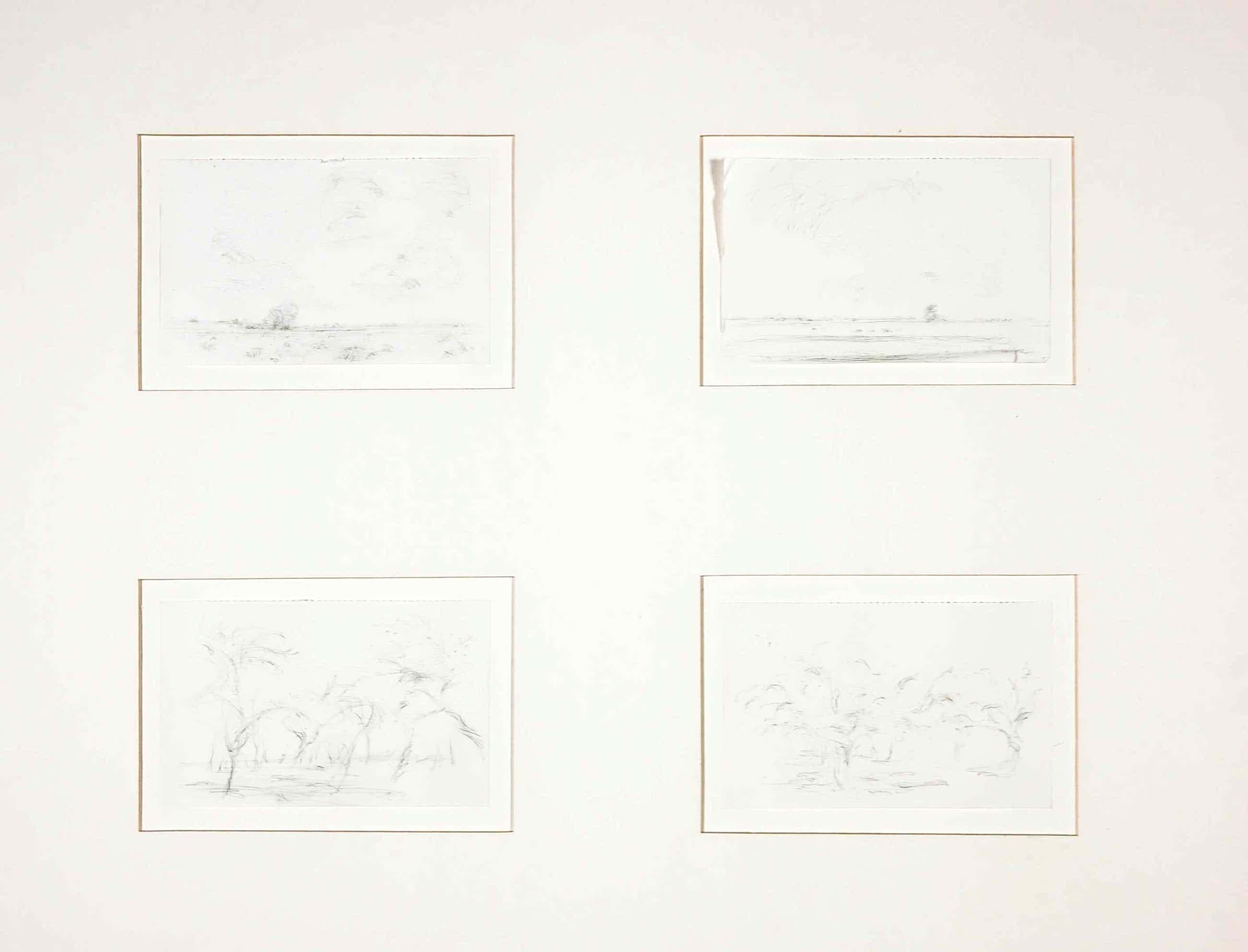Willem den Ouden - Vier tekeningen in passe-partout, Rivierlandschapjes kopen? Bied vanaf 140!