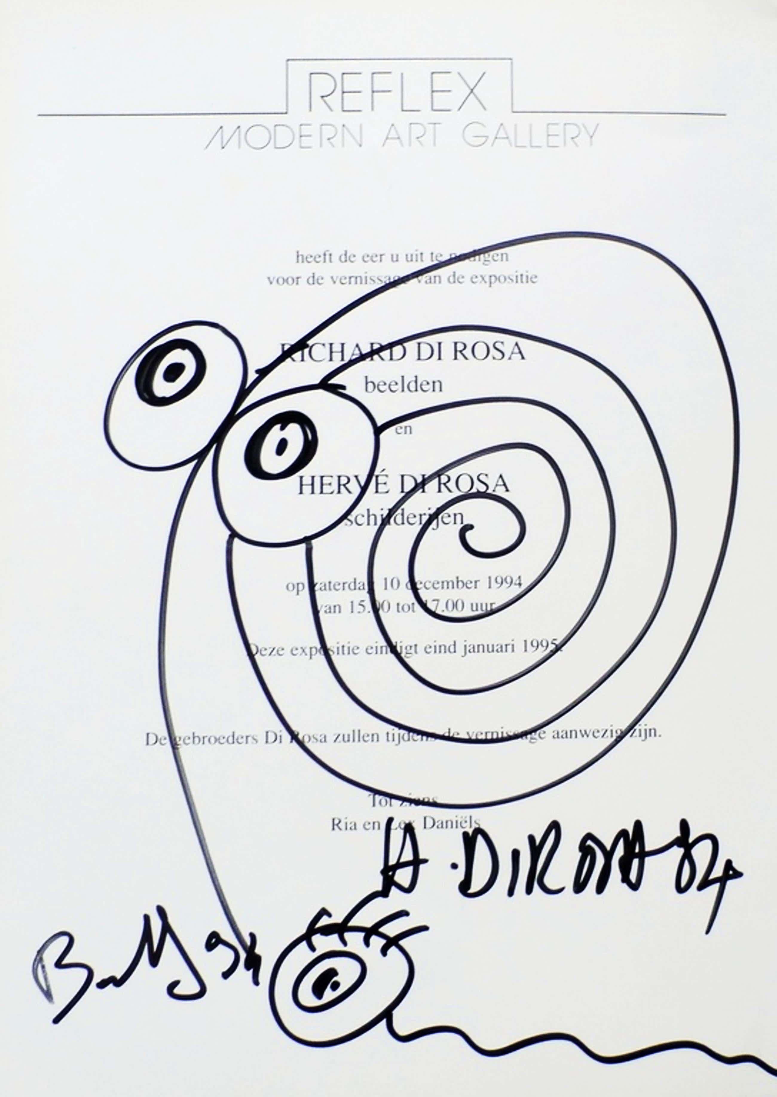 Hervé Di Rosa - Tekening op tentoonstelling uitnodiging kopen? Bied vanaf 39!