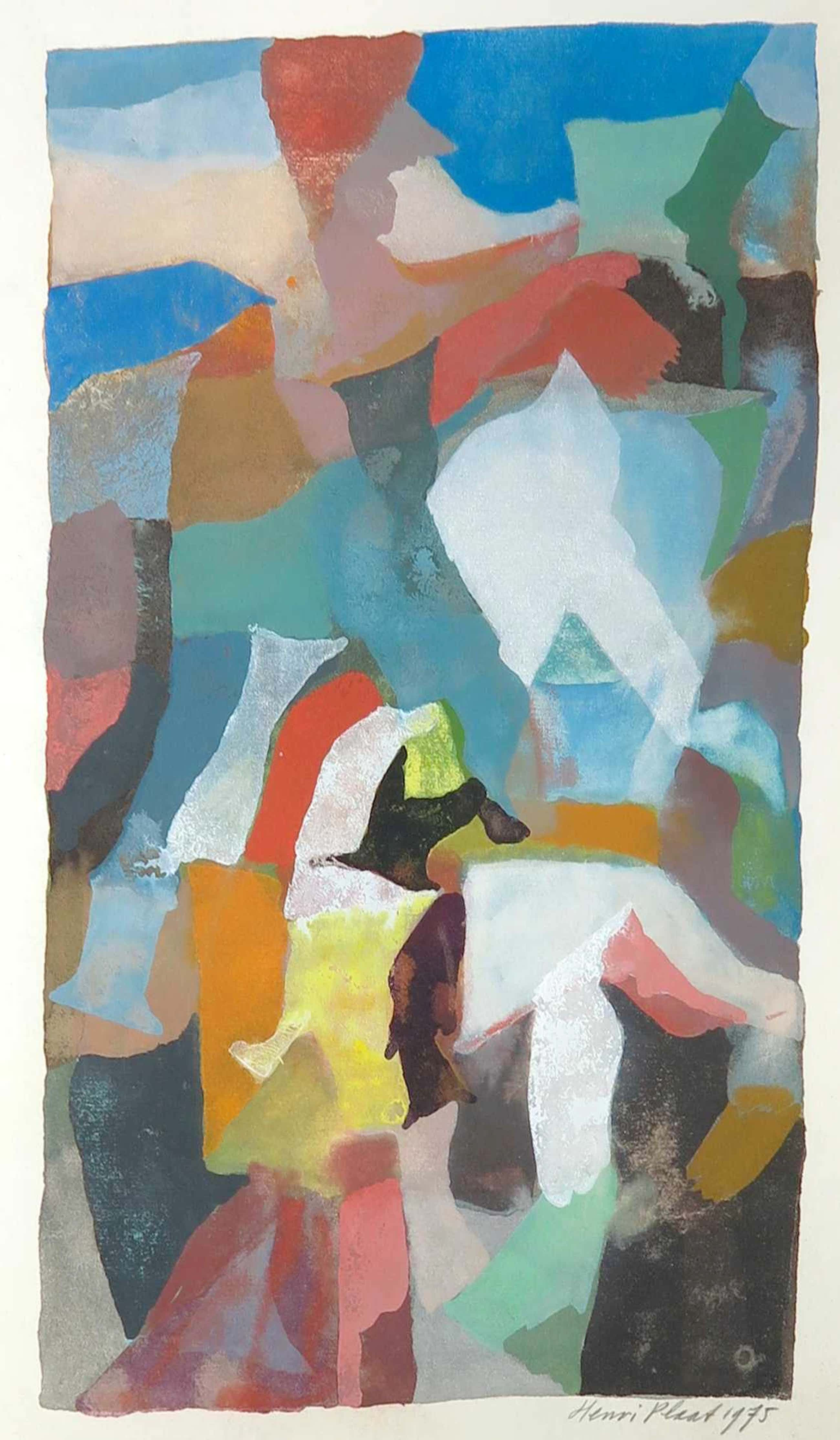 Henri Plaat - Gouache, Abstracte compositie met kleurvlakken kopen? Bied vanaf 105!