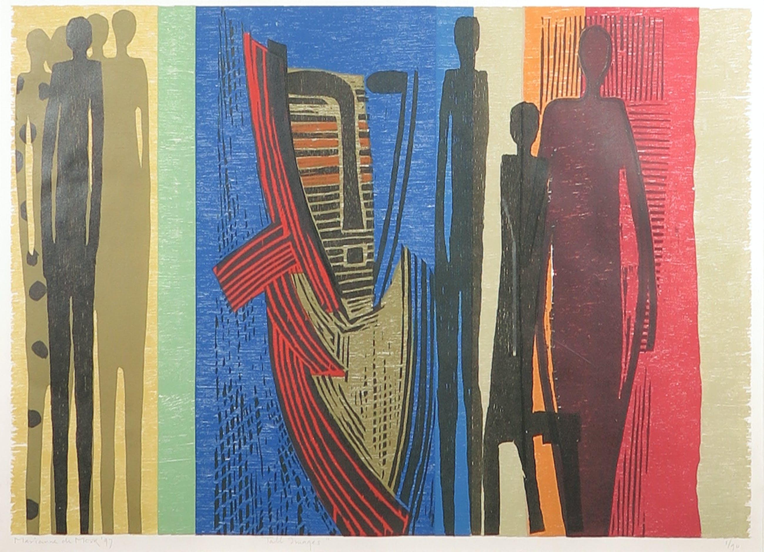 Marianne de Moor - Houtdruk, Tall images - Ingelijst (Groot) kopen? Bied vanaf 35!