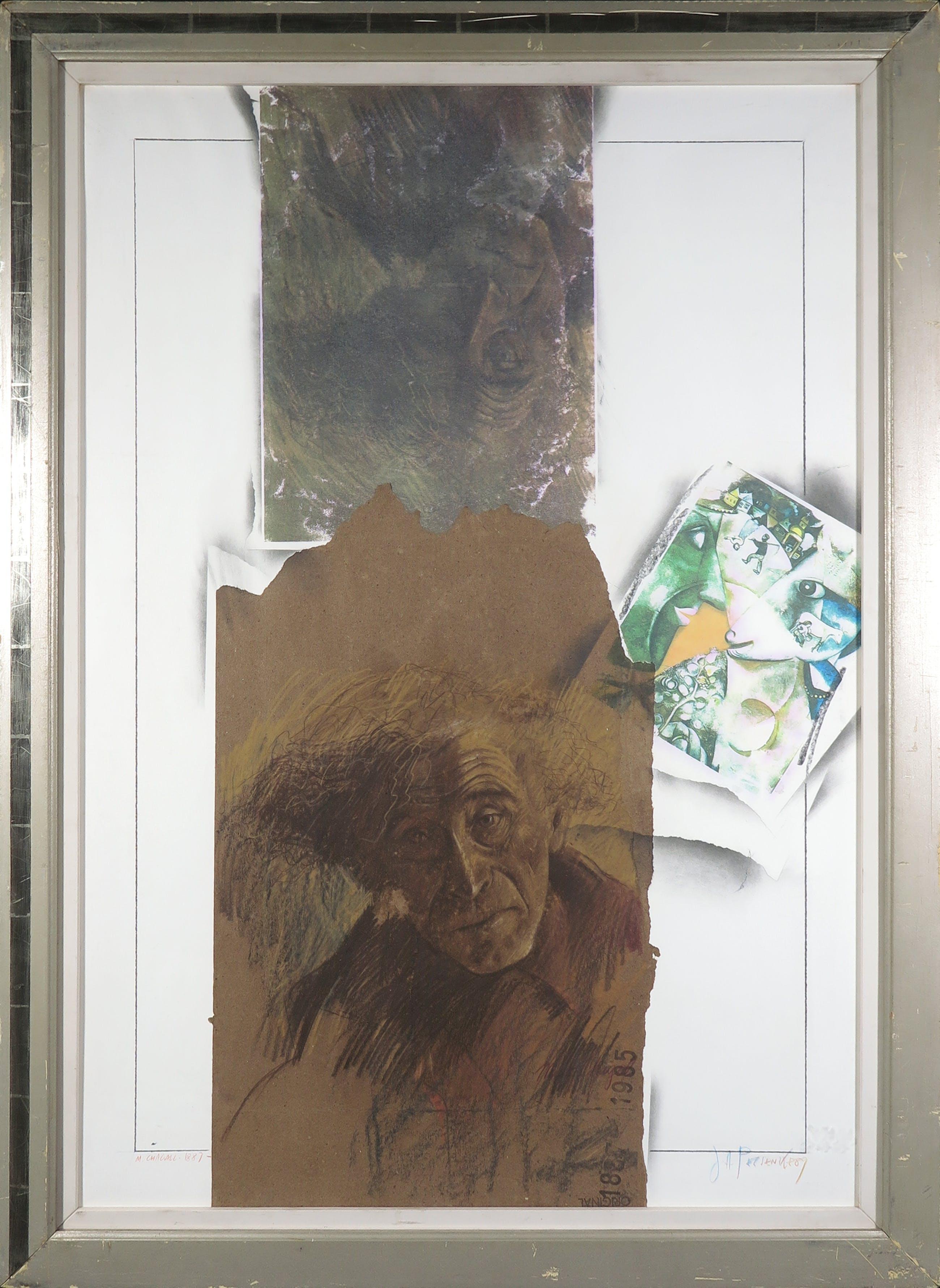 Joe A. Pecsenke - Potlood en collage, Marc Chagall 1887 - Ingelijst (Groot) kopen? Bied vanaf 150!