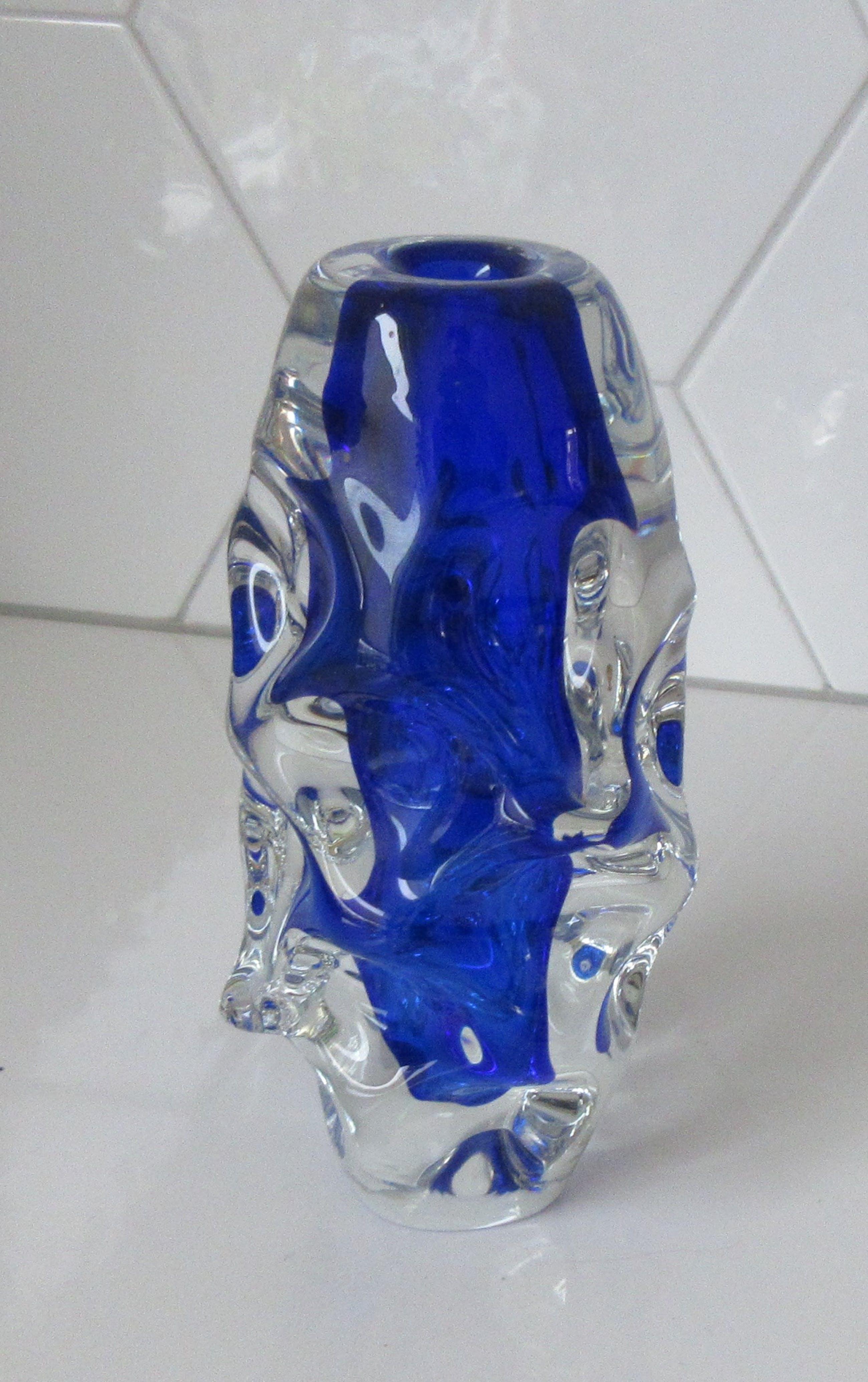 Jan Beranek - Cobalt blauwe dikwandige kunstglazen vaas kopen? Bied vanaf 45!