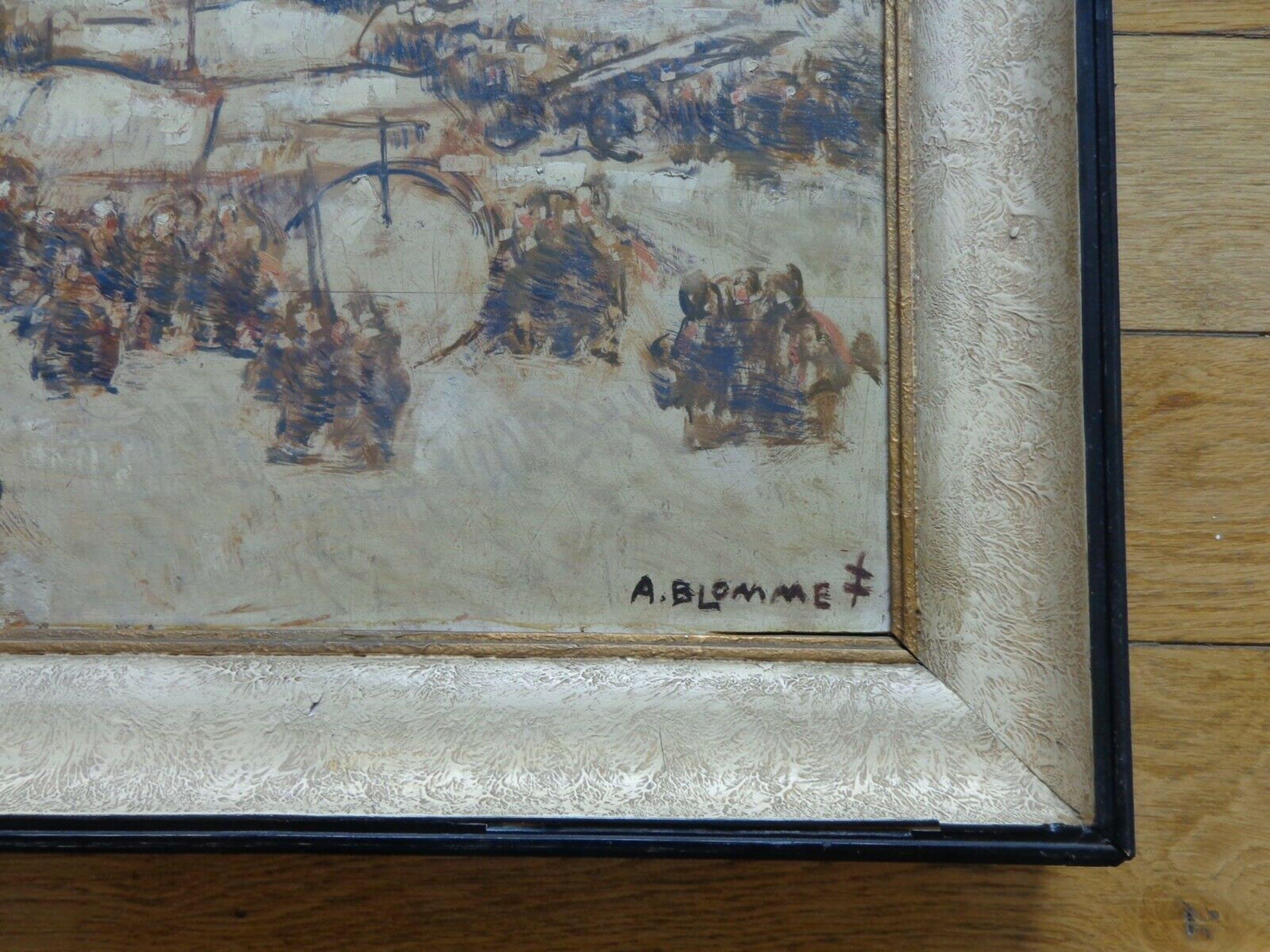 Alfons Blomme - STADHUIS MIDDELBURG / OLIEVERF / 76x83cm / KADER / SIG kopen? Bied vanaf 245!