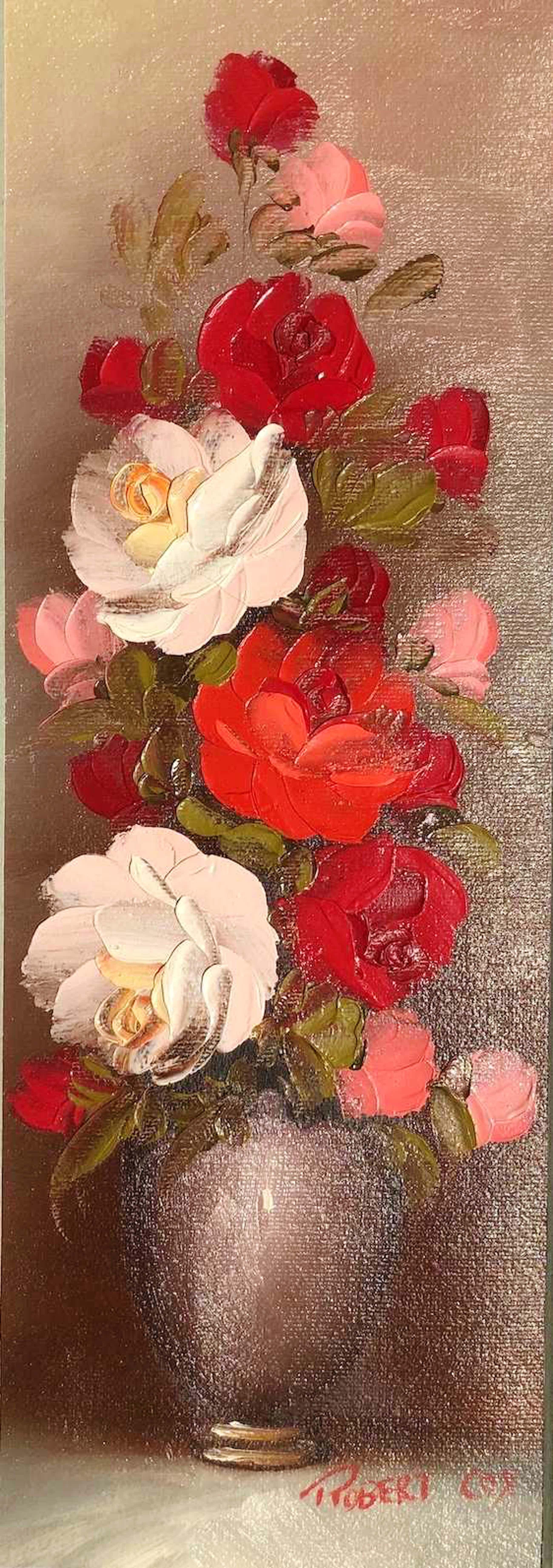 Robert Cox - Rode bloemen in vaas - Olieverf op doek kopen? Bied vanaf 80!