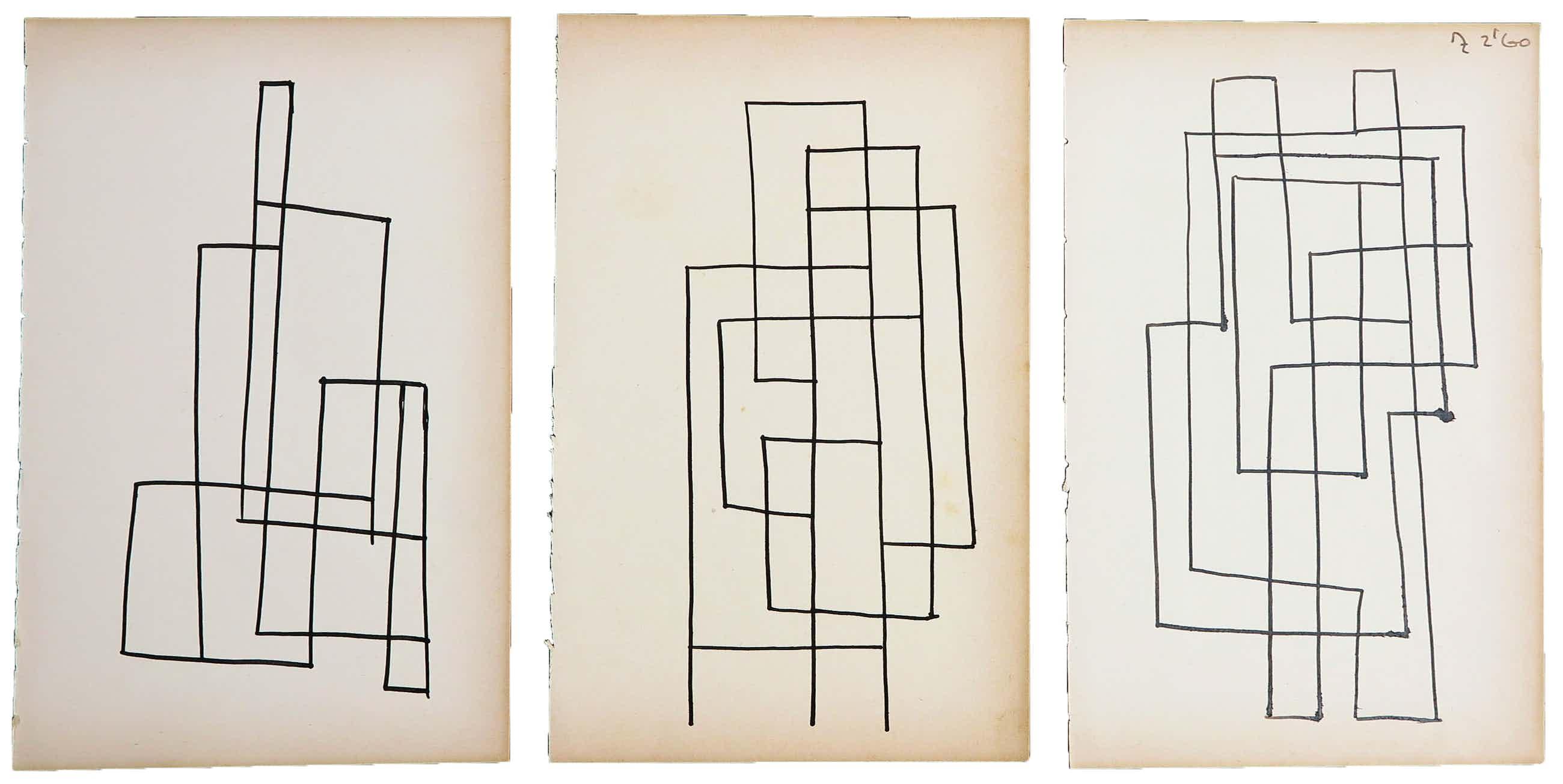 Siep van den Berg - Lot van drie abstracte composities kopen? Bied vanaf 100!