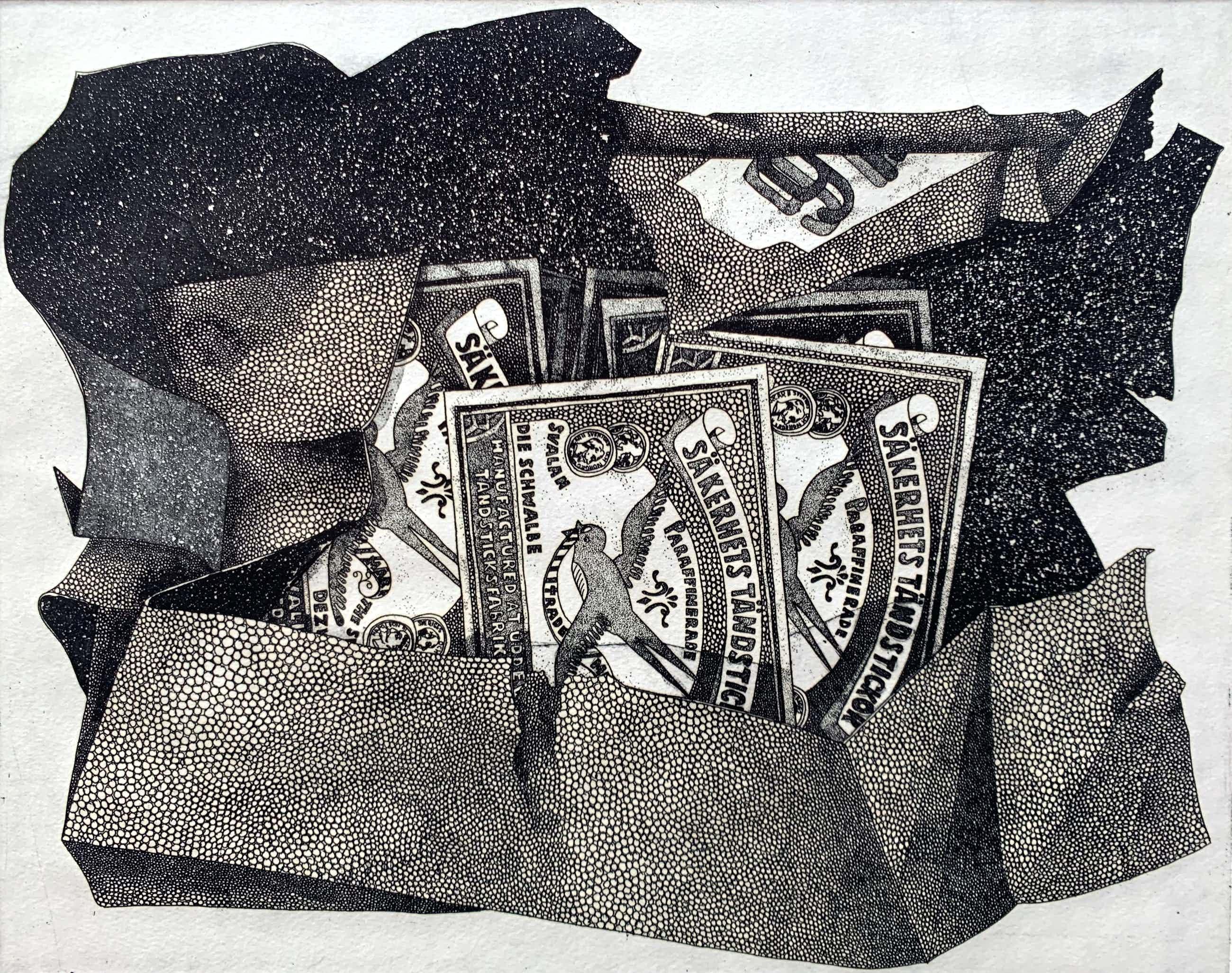 Henny van de Nieuwenhof - ets - 'Lucifers' - 1974 kopen? Bied vanaf 60!