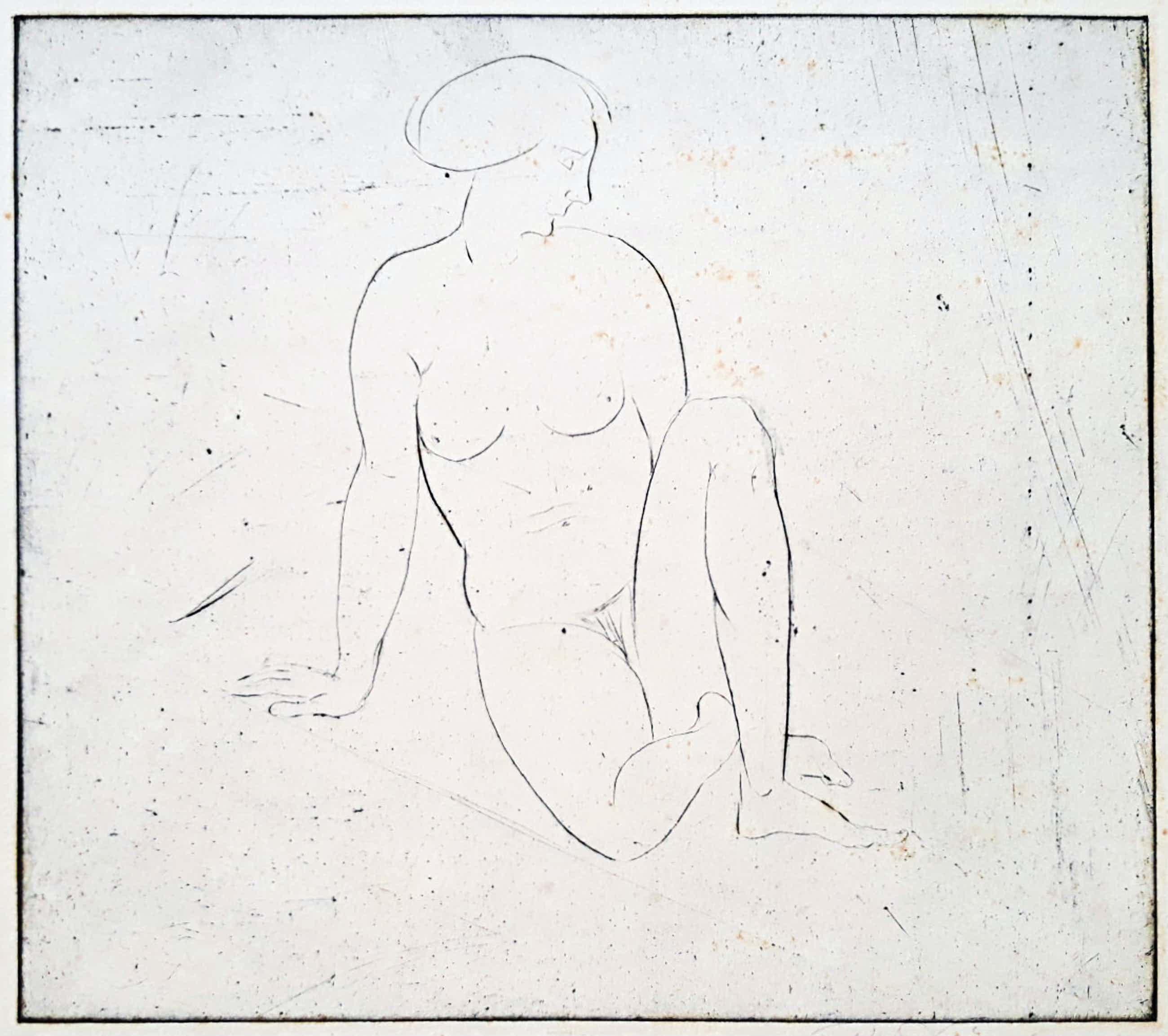 Richard Engelmann - Nackt sitzen, Radierung kopen? Bied vanaf 95!