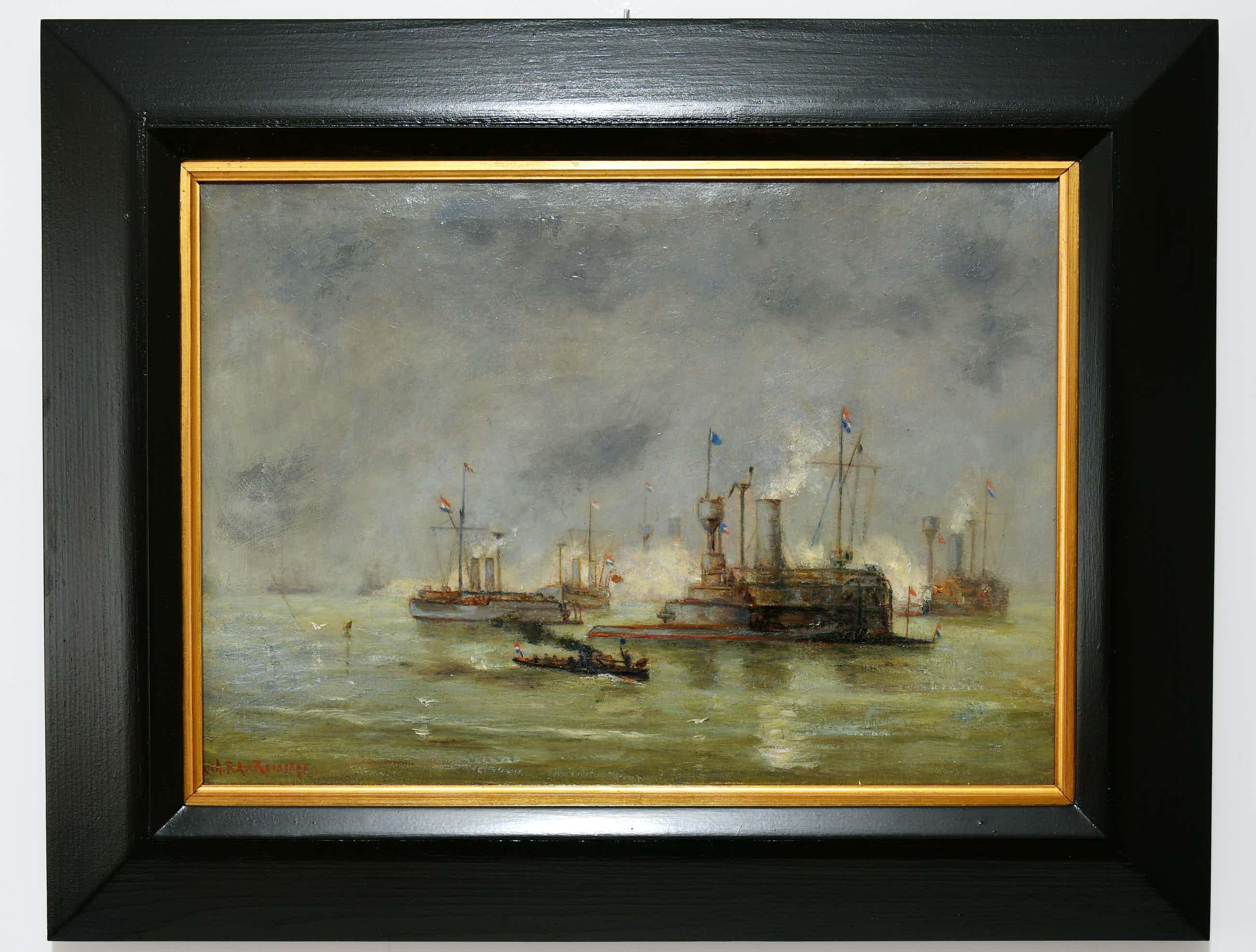 """Richardus Philippus Arnoldus van Rees - (1850-1925) - """"Hollandse Marinemanoeuvres - Hellevoetsluis"""". kopen? Bied vanaf 325!"""
