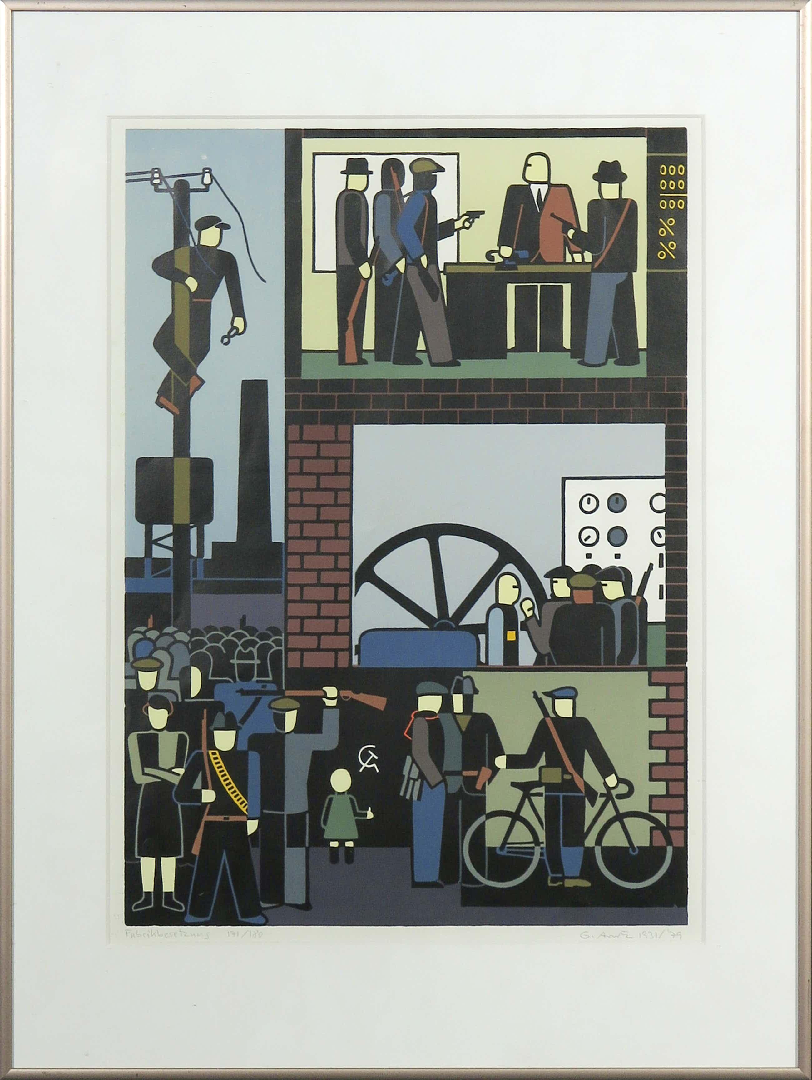 Gerd Arntz - Zeefdruk (1931/'79), Fabriksbesetzung - Ingelijst kopen? Bied vanaf 160!