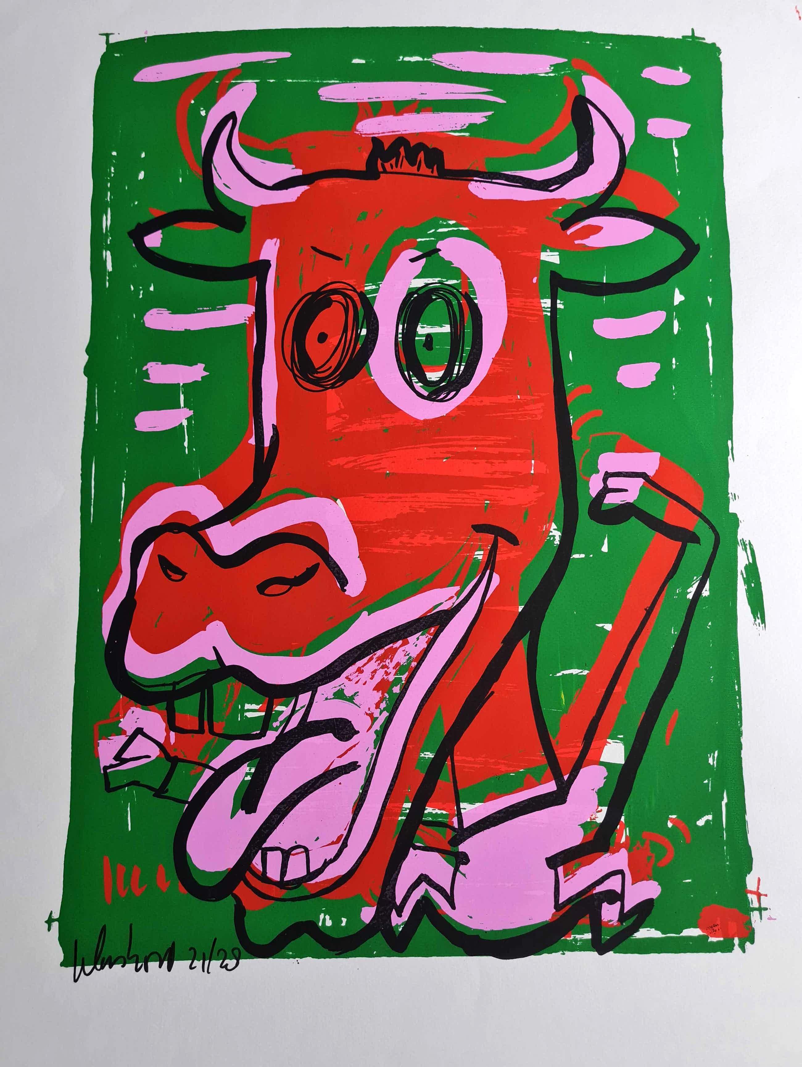 Peter Klashorst - zeefdruk cow - gesigneerd kopen? Bied vanaf 35!