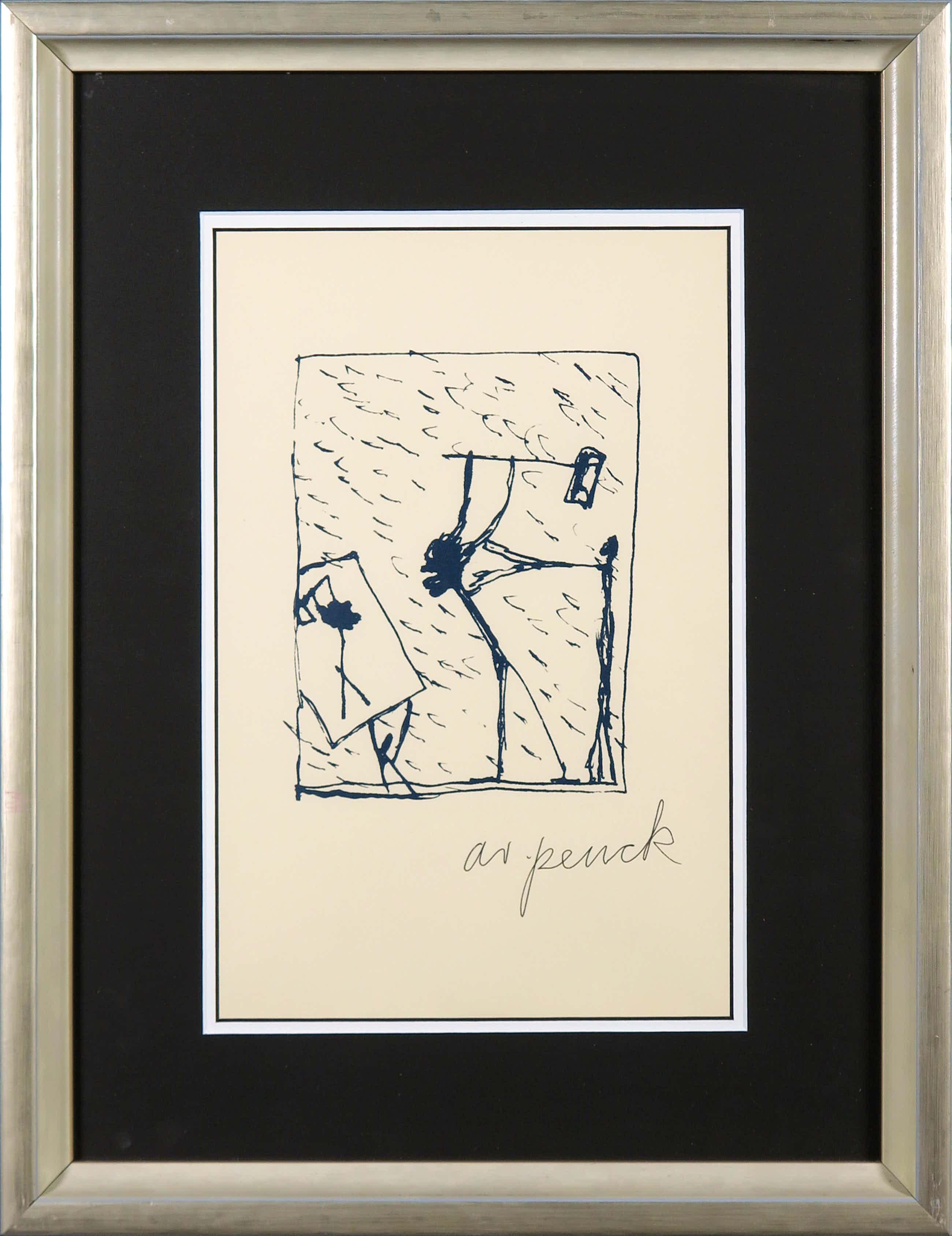 A.R. Penck - Zeldzame handgesigneerde litho, Zonder titel - Ingelijst kopen? Bied vanaf 170!