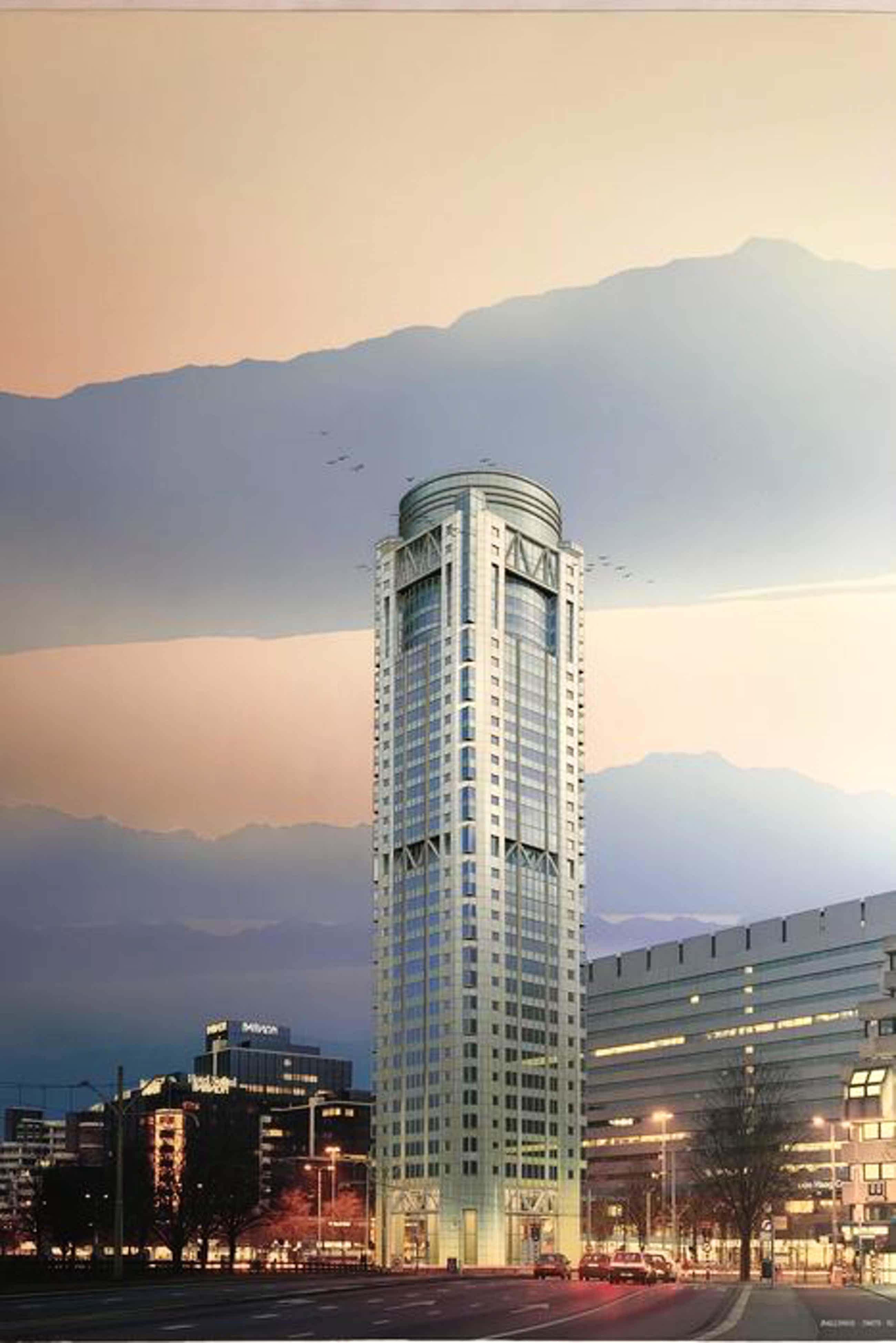 Alexander Ballings - ontwerp gebouw op plein voor C.S. Den Haag - gemengde techniek kopen? Bied vanaf 70!