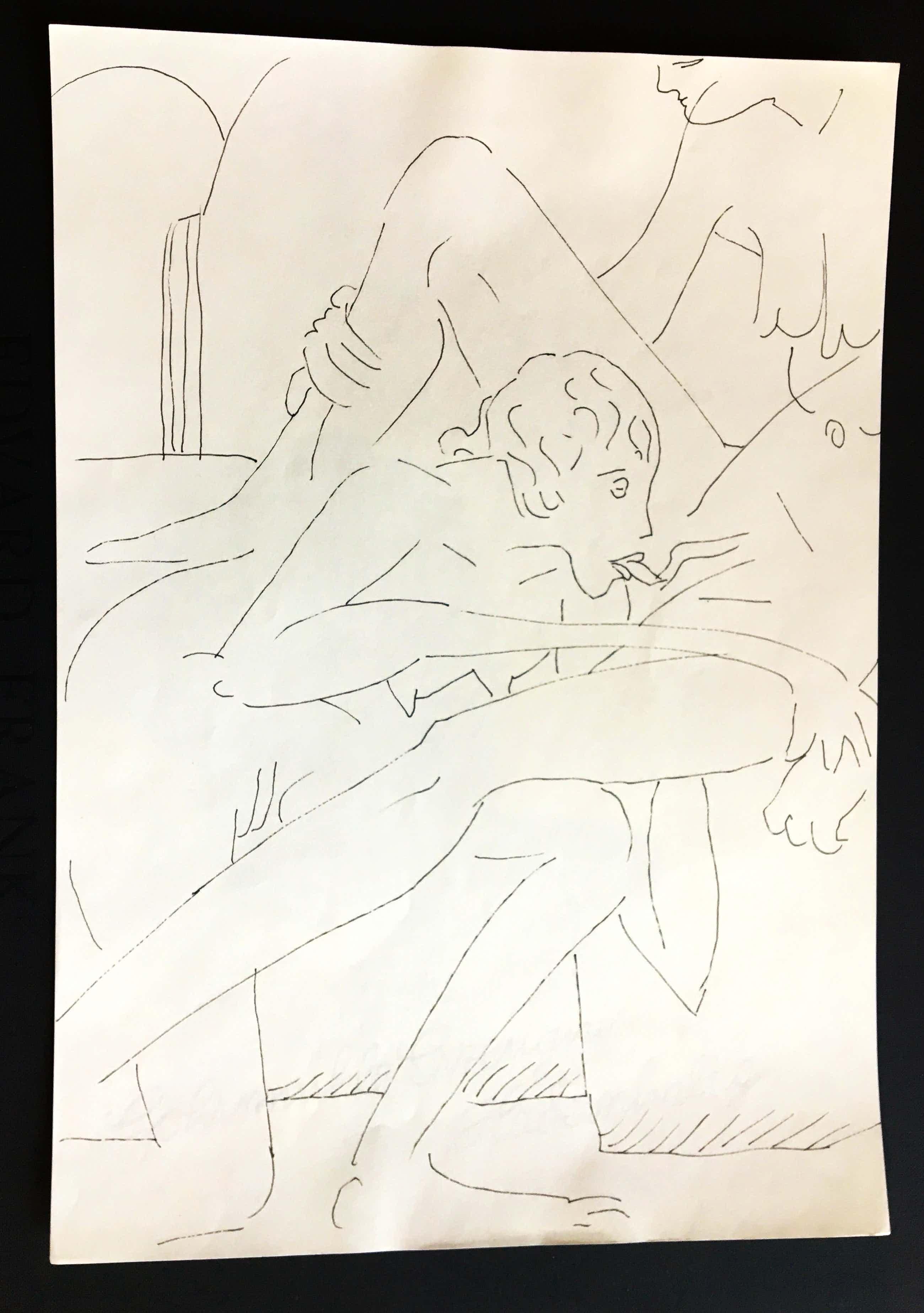 Edvard Frank - Original Erotische Tuschfederzeichnung kopen? Bied vanaf 189!