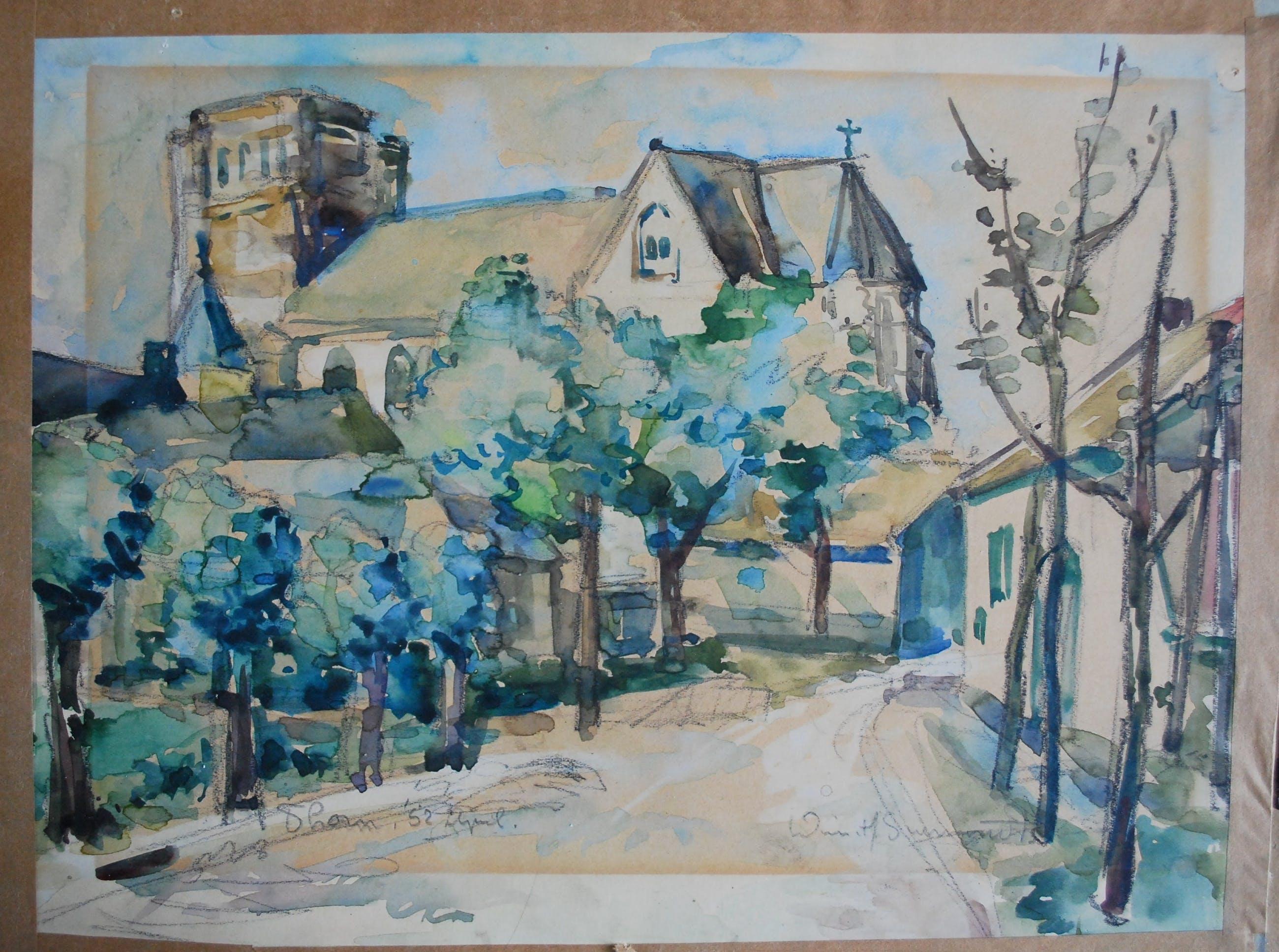 Wim Suermondt - Thorn, Limburg, stadsgezicht met kerk, 1952 kopen? Bied vanaf 65!