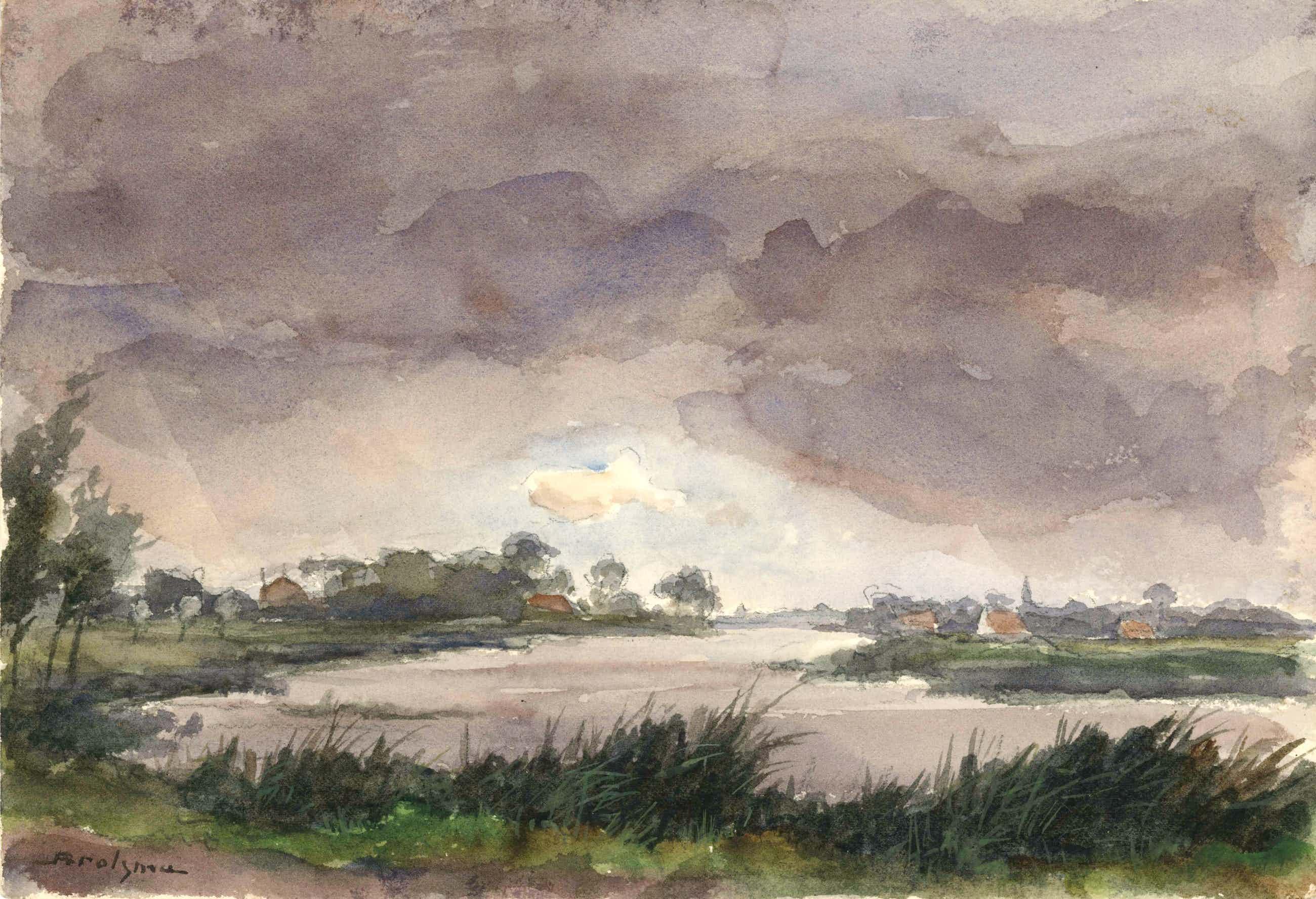 Johannes Hessel Brolsma - aquarel van rivierlandschap - 21533 kopen? Bied vanaf 115!
