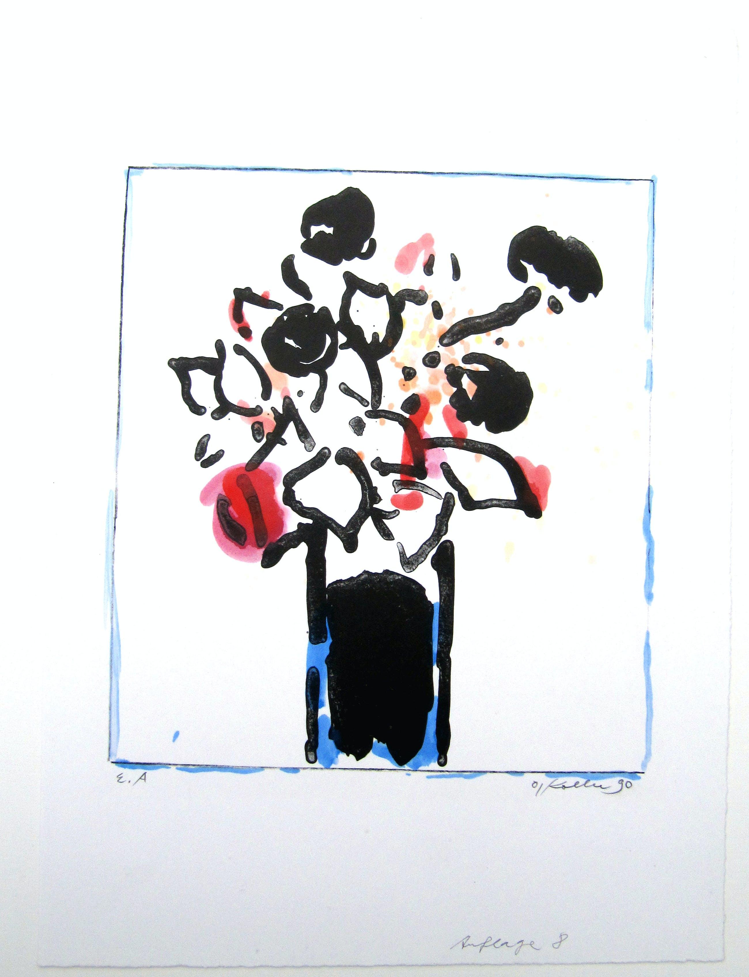 Oskar Koller - Blaue Vase Lithographie, handcoloriert, Expl. E.A. signiert O.Koller 90 kopen? Bied vanaf 190!