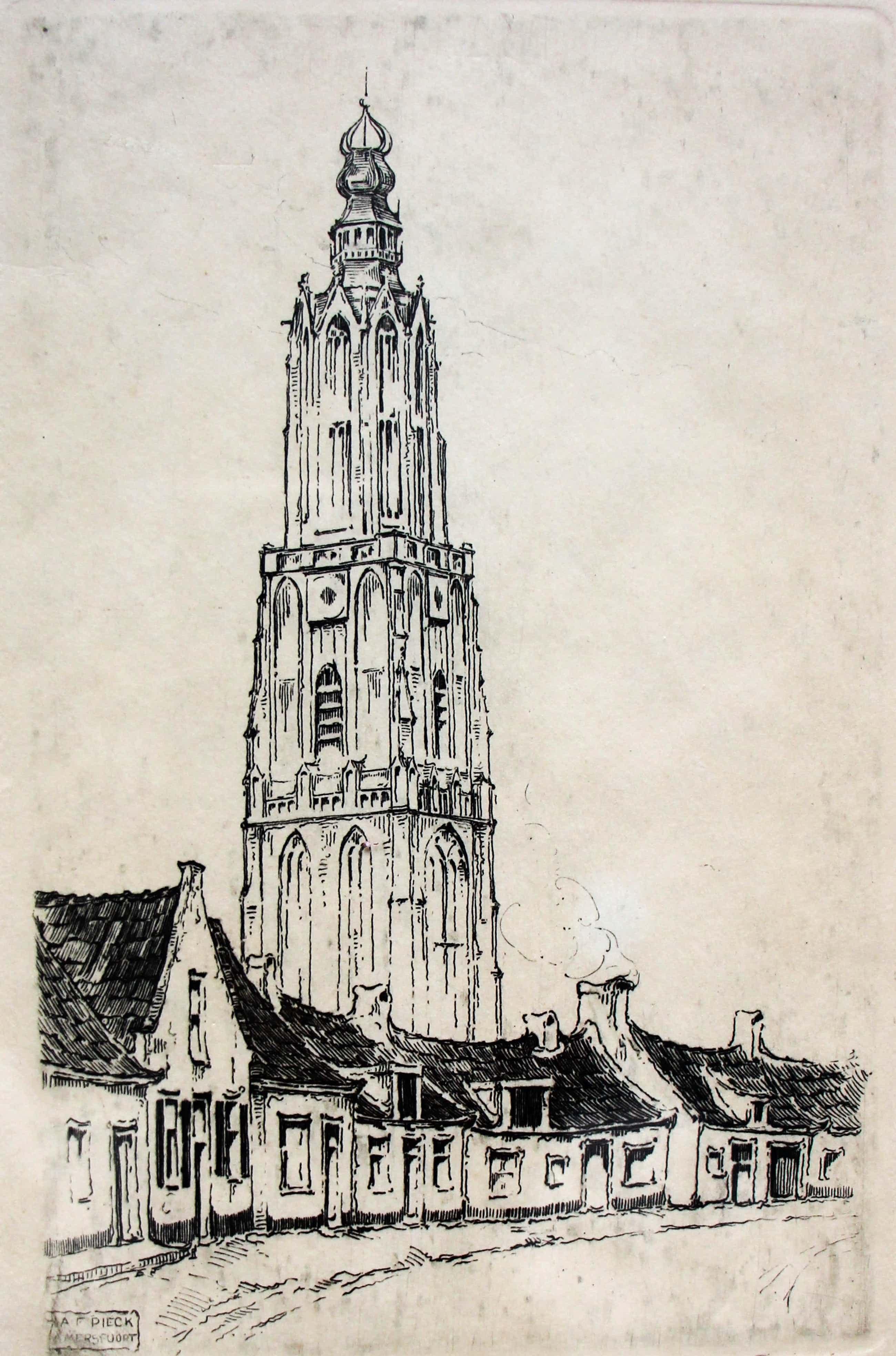Anton Pieck - Ets: Onze lieve vrouwentoren Amersfoort - 1917 kopen? Bied vanaf 175!