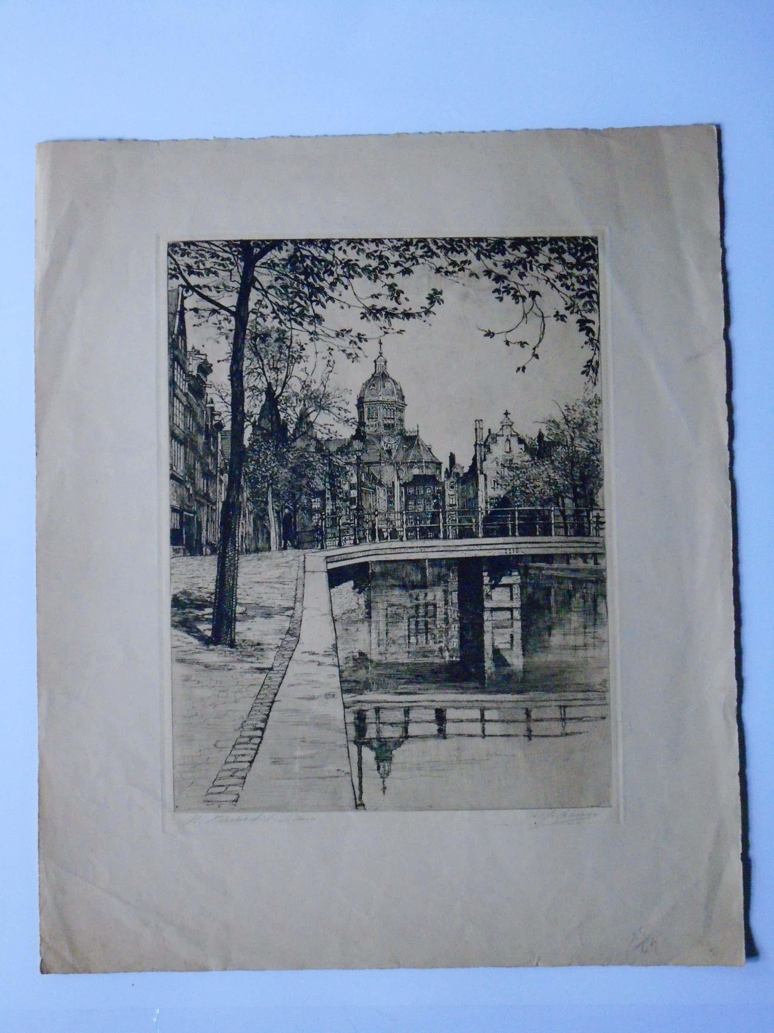 Johannes Josseaud - 4x Amsterdamse Stadsgezichten kopen? Bied vanaf 80!