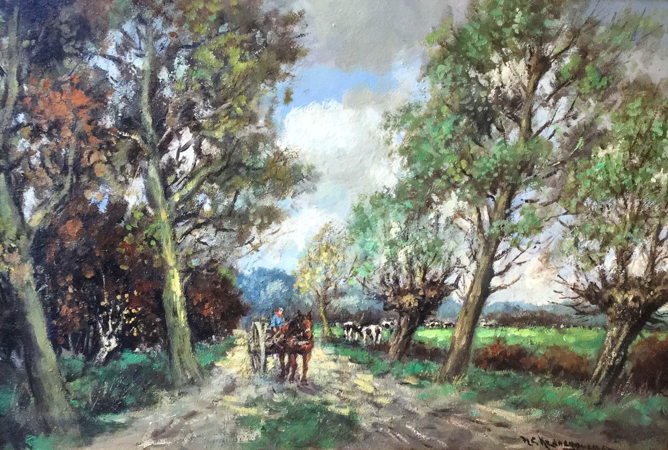 Hendrik Cornelis Kranenburg - C4811-6, Boerenkar met paard op bospad langs weiland met koeien kopen? Bied vanaf 125!