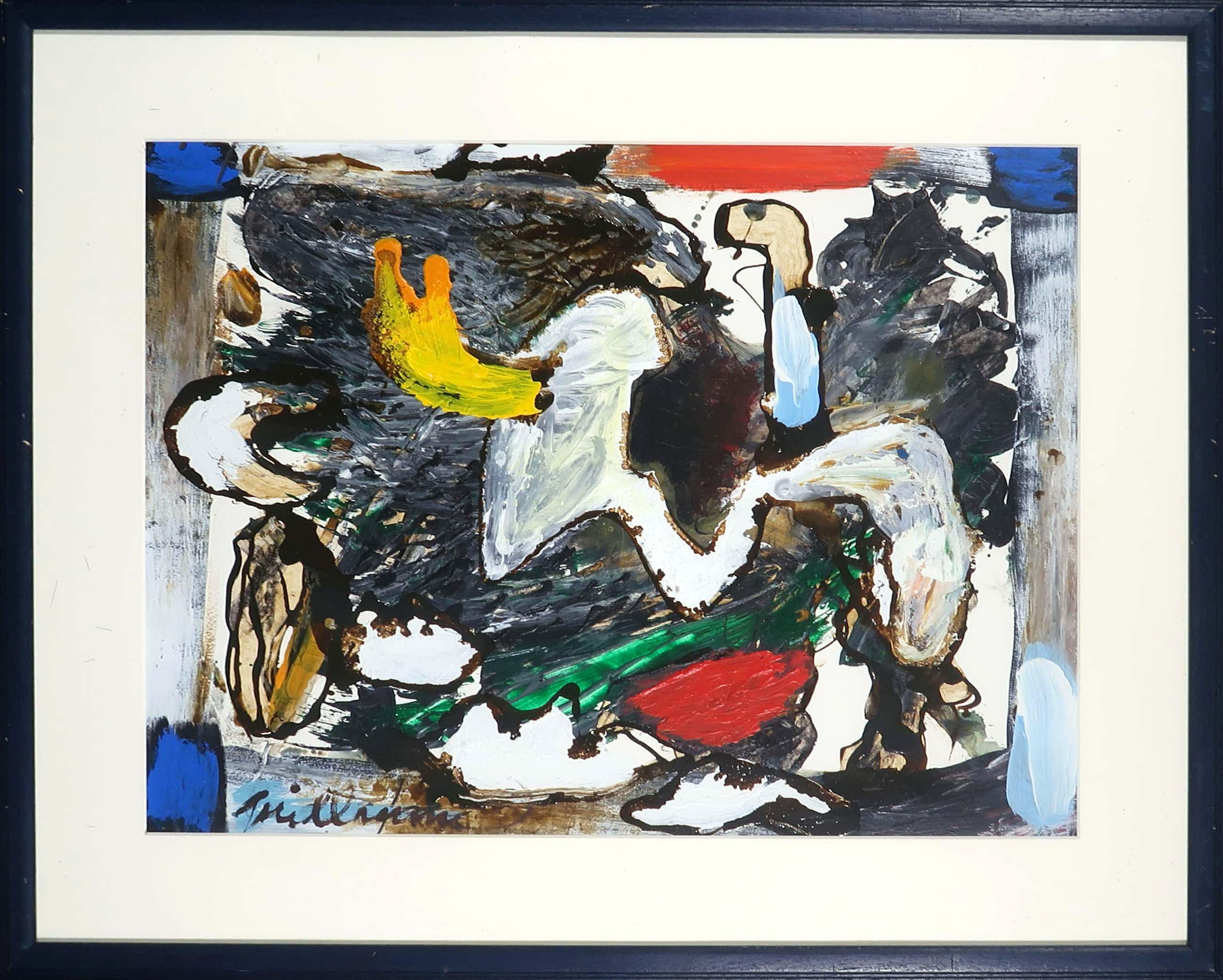Guillaume Lo-A-Njoe - Olieverf op papier, Abstracte compositie - Ingelijst kopen? Bied vanaf 70!