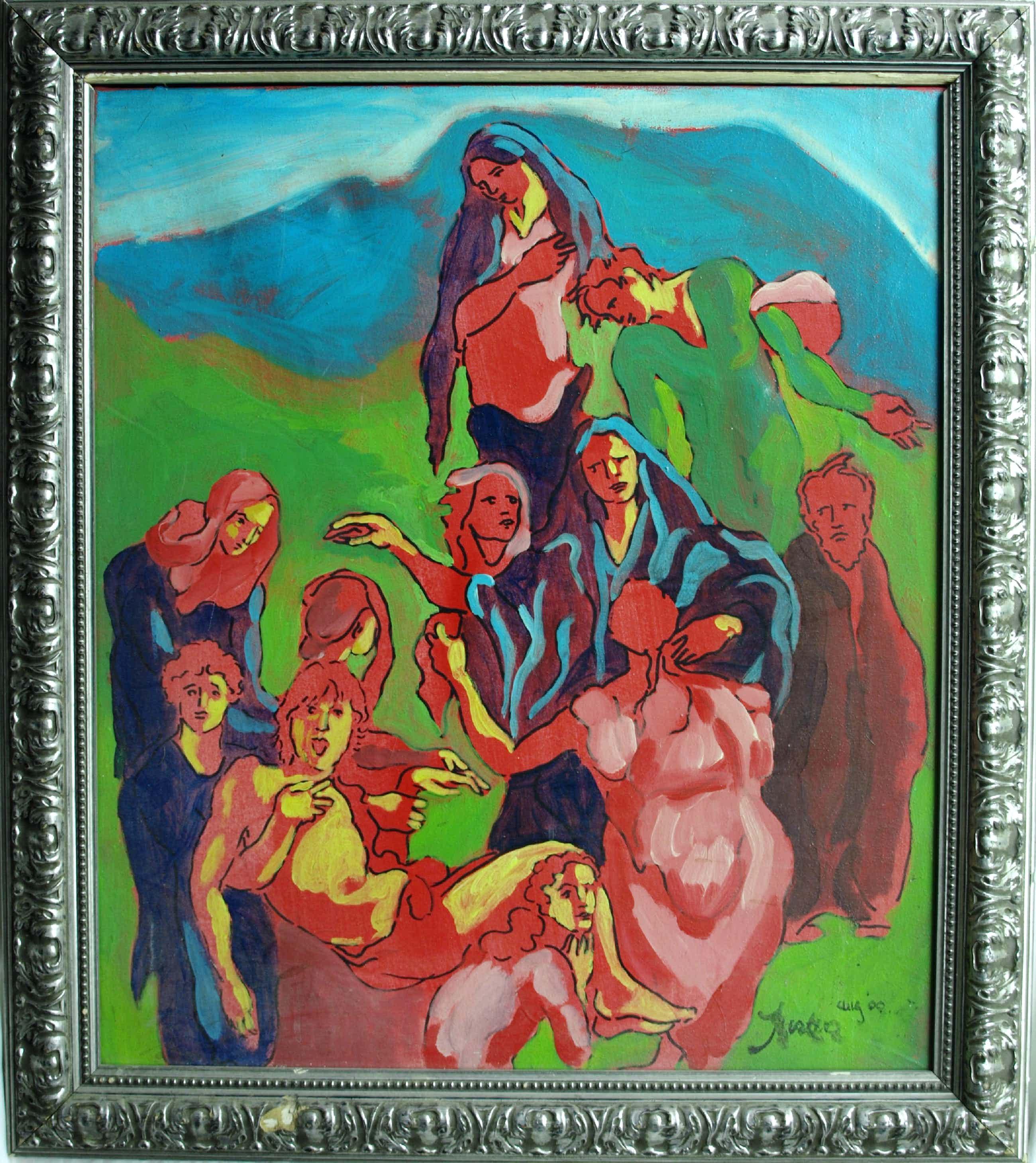 Justus Donker - Olieverf op canvas , Kruisiging , Zelfportret - ingelijst – 2000 kopen? Bied vanaf 80!