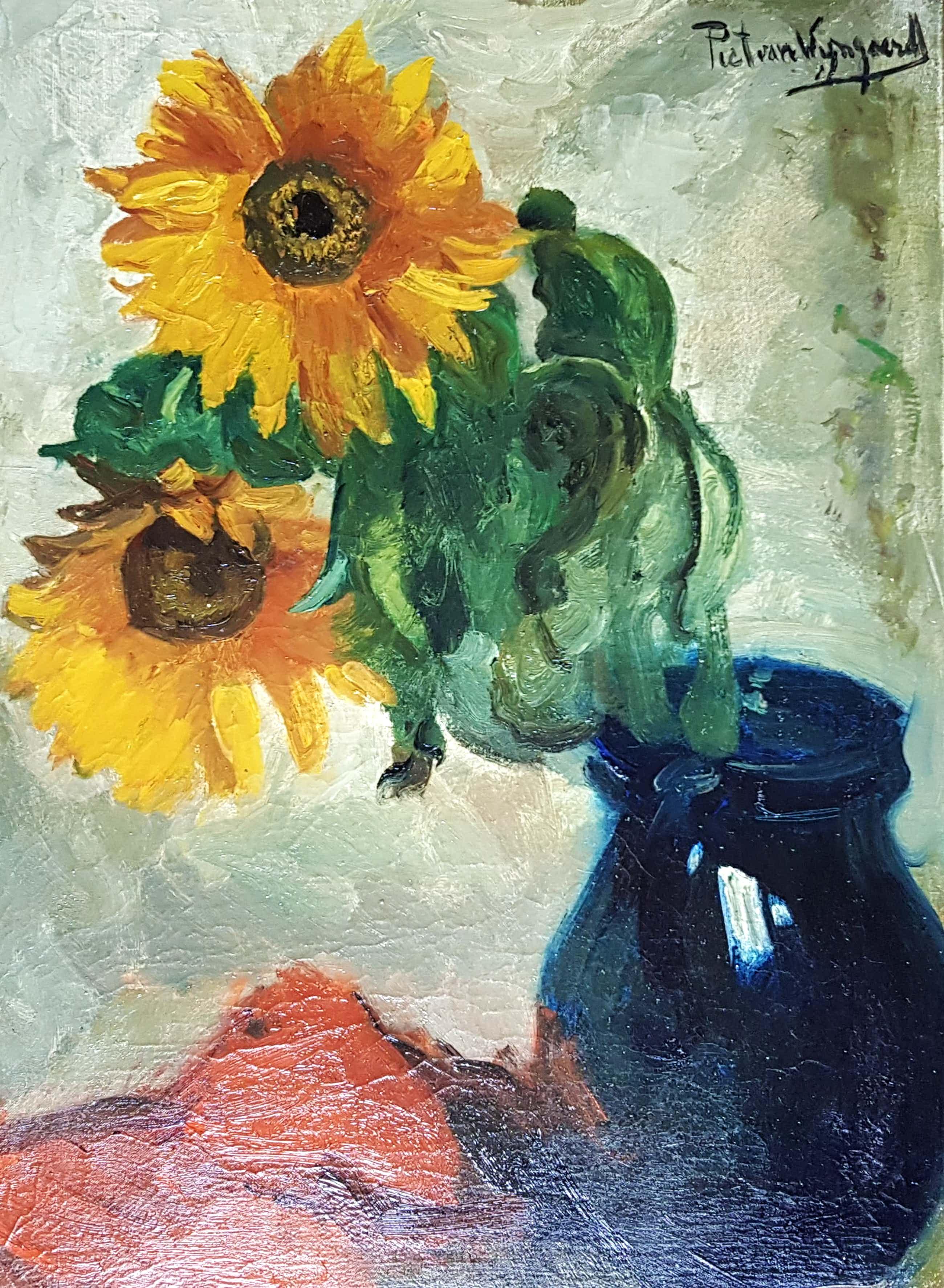Piet van Wijngaerdt - zonnebloemen, olie op doek, gesigneerd en verso kopen? Bied vanaf 325!