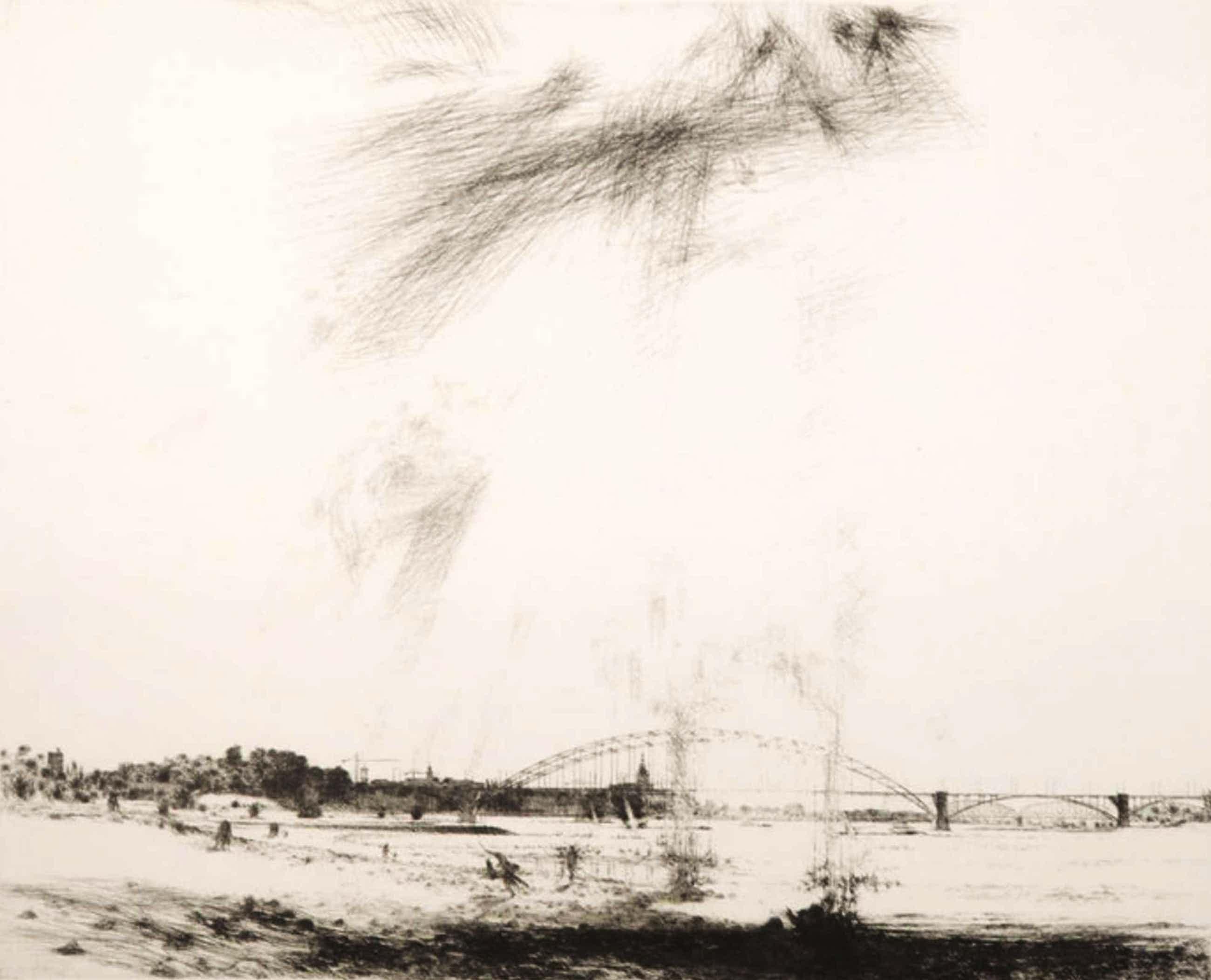 Willem den Ouden - Willem den Ouden: Ets op Japans papier, Z.T. Landschap met brug kopen? Bied vanaf 320!