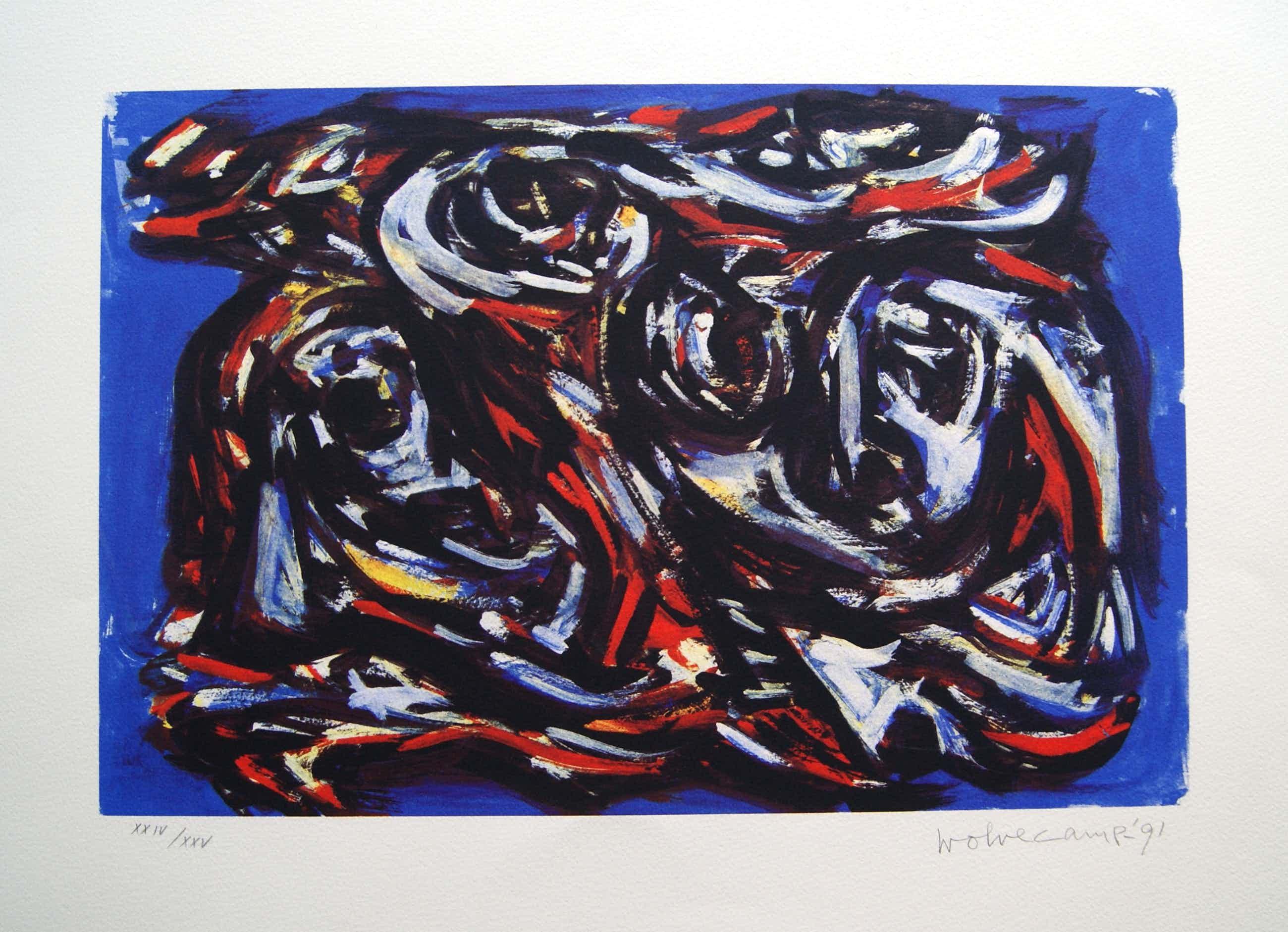 Theo Wolvecamp - zeer fraaie abstracte zeefdruk - 1991. kopen? Bied vanaf 235!