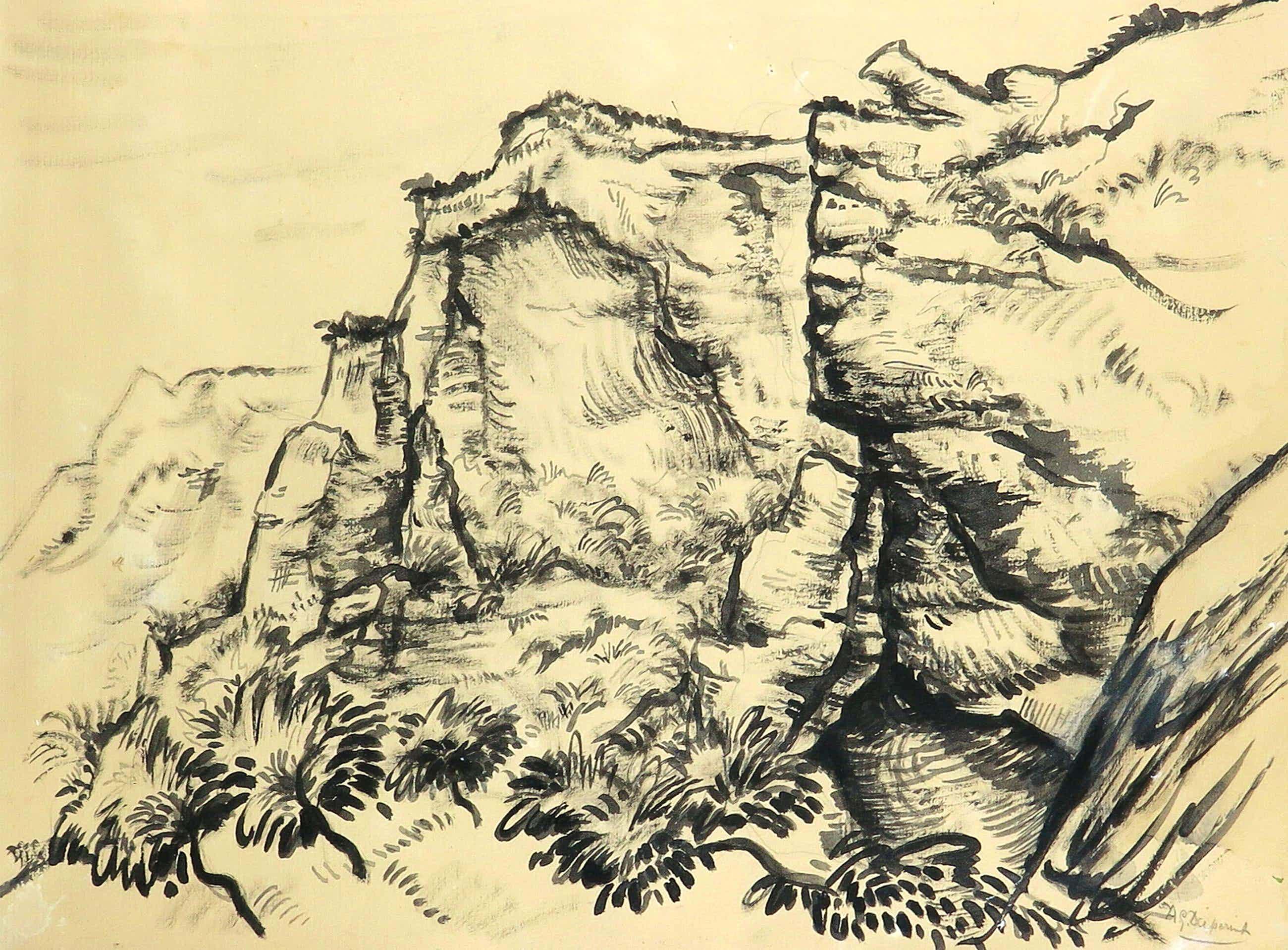 Alexander Gerhardus Dieperink - Landschap met rotsen kopen? Bied vanaf 15!