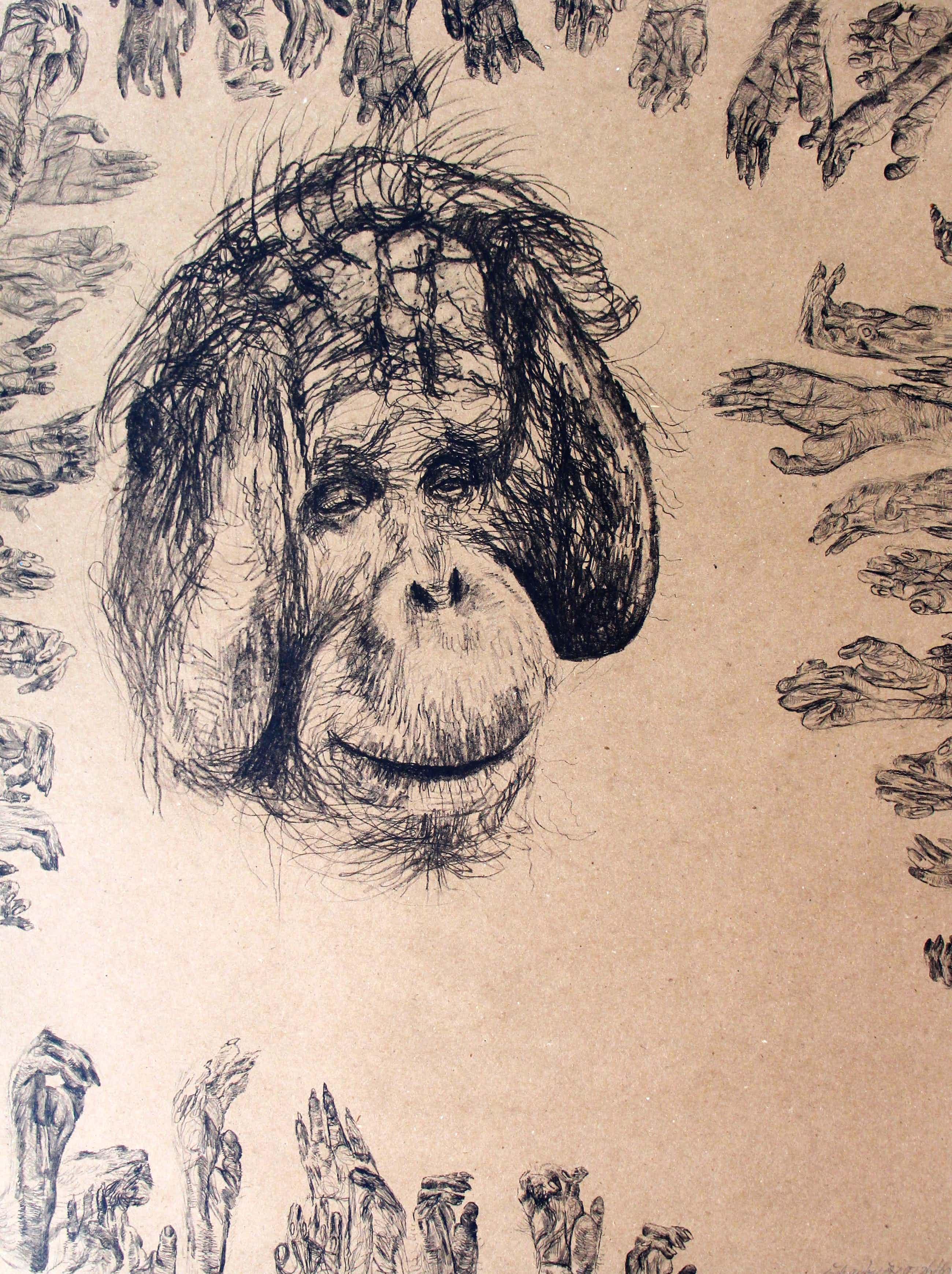 Erik Andriesse - litho op bruin papier: Sam - 1992 kopen? Bied vanaf 495!