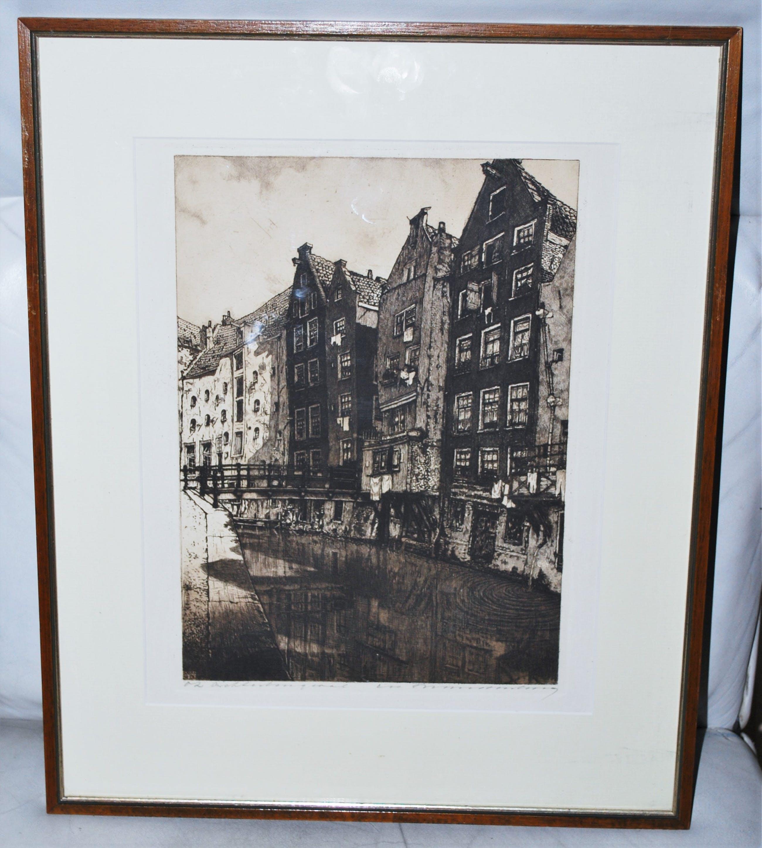 Cornelis Brandenburg - Heldere ets van de O.Z. Achterburgwal Amsterdam kopen? Bied vanaf 70!