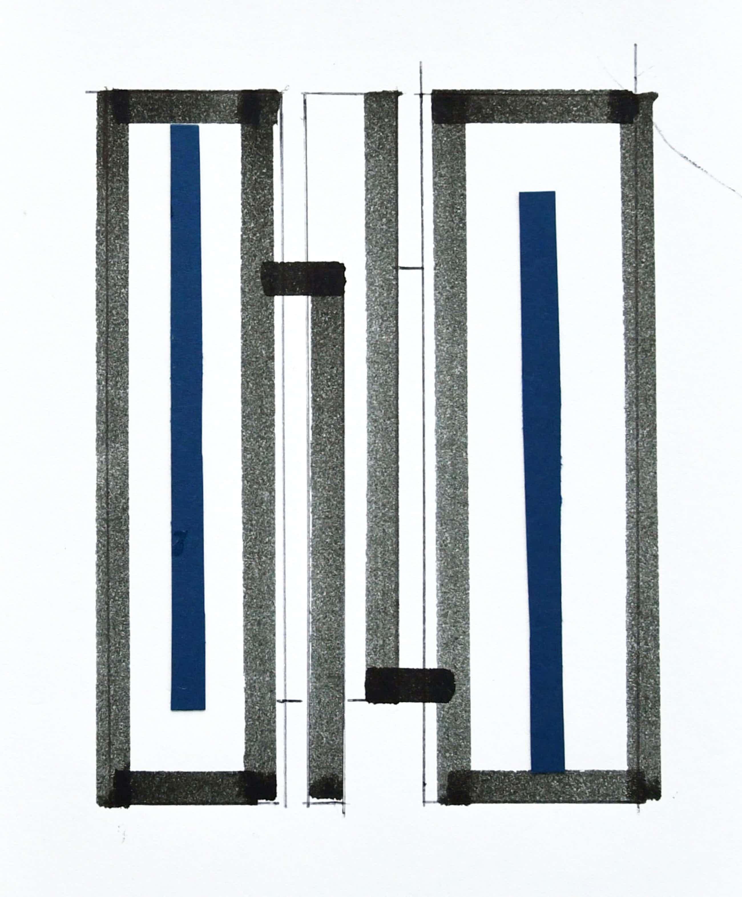 Siep van den Berg - # CONSTRUCTIVISTISCHE COMPOSITIE in pen en COLLAGE in blauw# 1990, mint kopen? Bied vanaf 45!