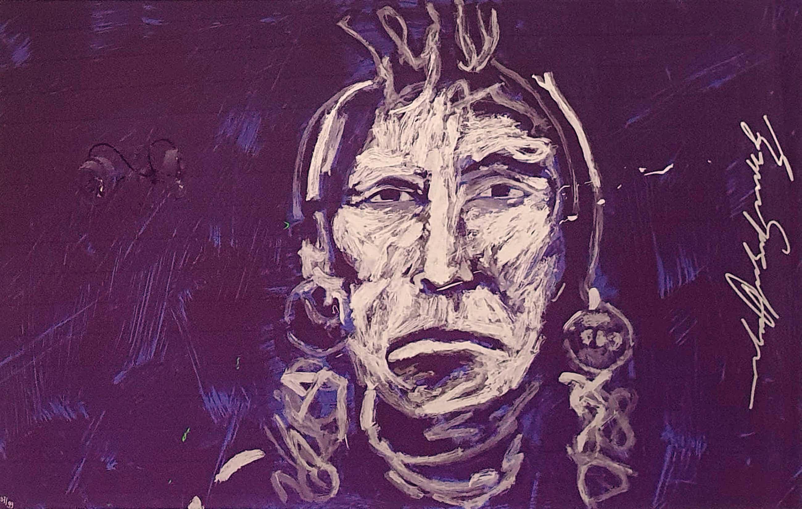 Espen Hagen - zeefdruk, Titel Indian Chief Black (Purple) kopen? Bied vanaf 50!