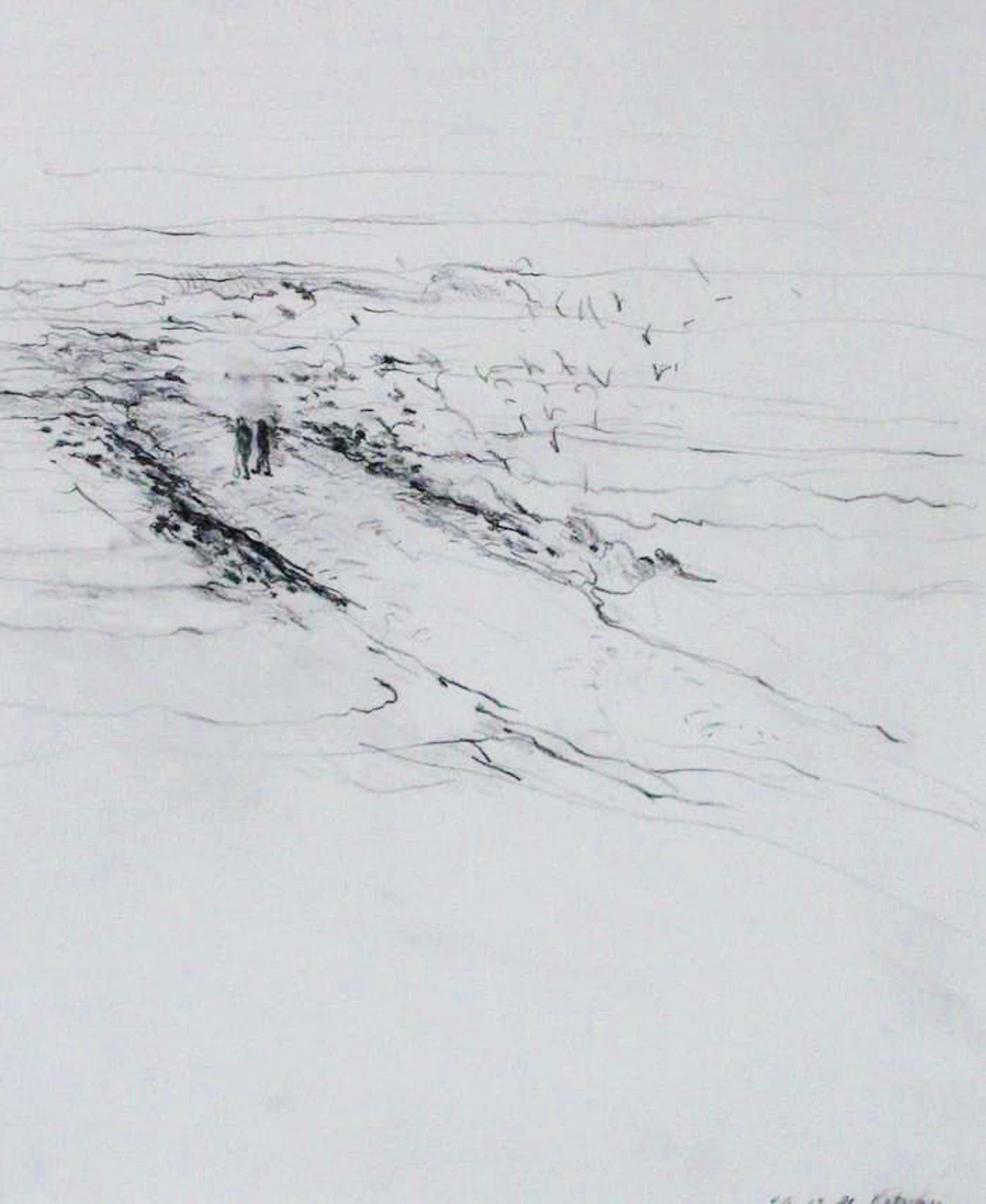 Kees van Bohemen - Ingelijste potloodtekening: wandeling op het strand - 1981 kopen? Bied vanaf 275!