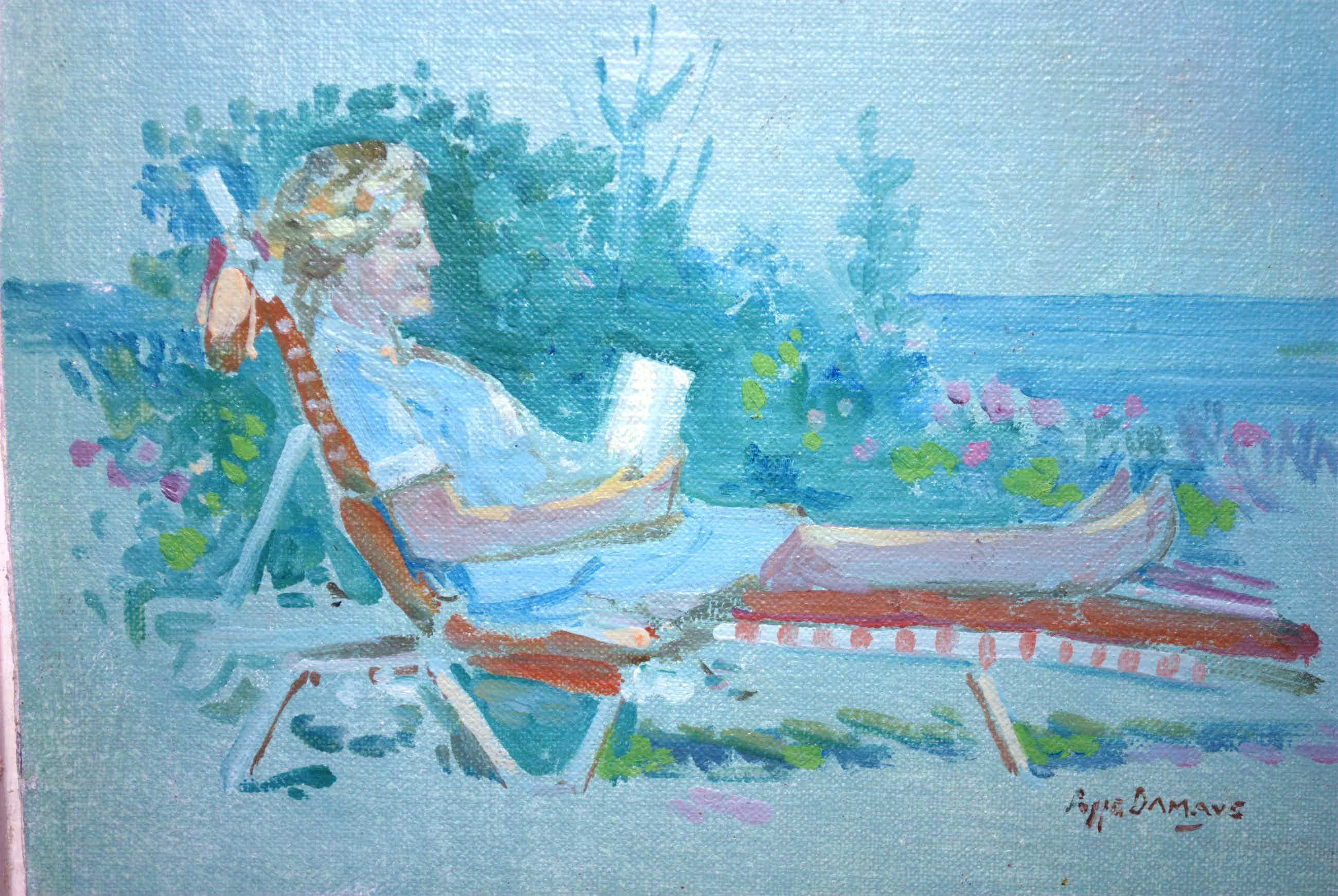 Poppe Damave - Lezende dame in een ligstoel - olieverf kopen? Bied vanaf 35!