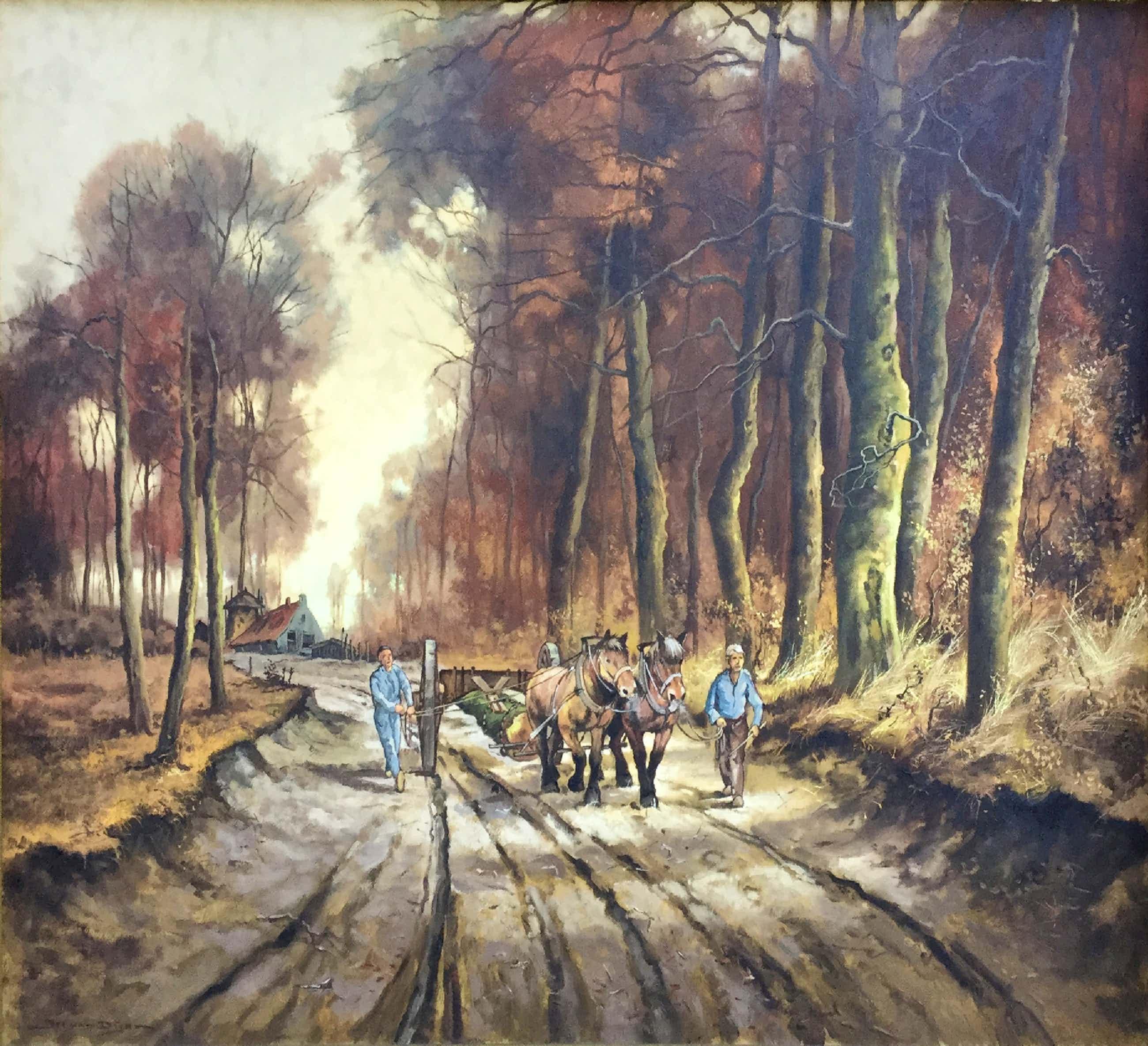 Jos van Dijk - C4178 - trekpaarden in het bos kopen? Bied vanaf 250!